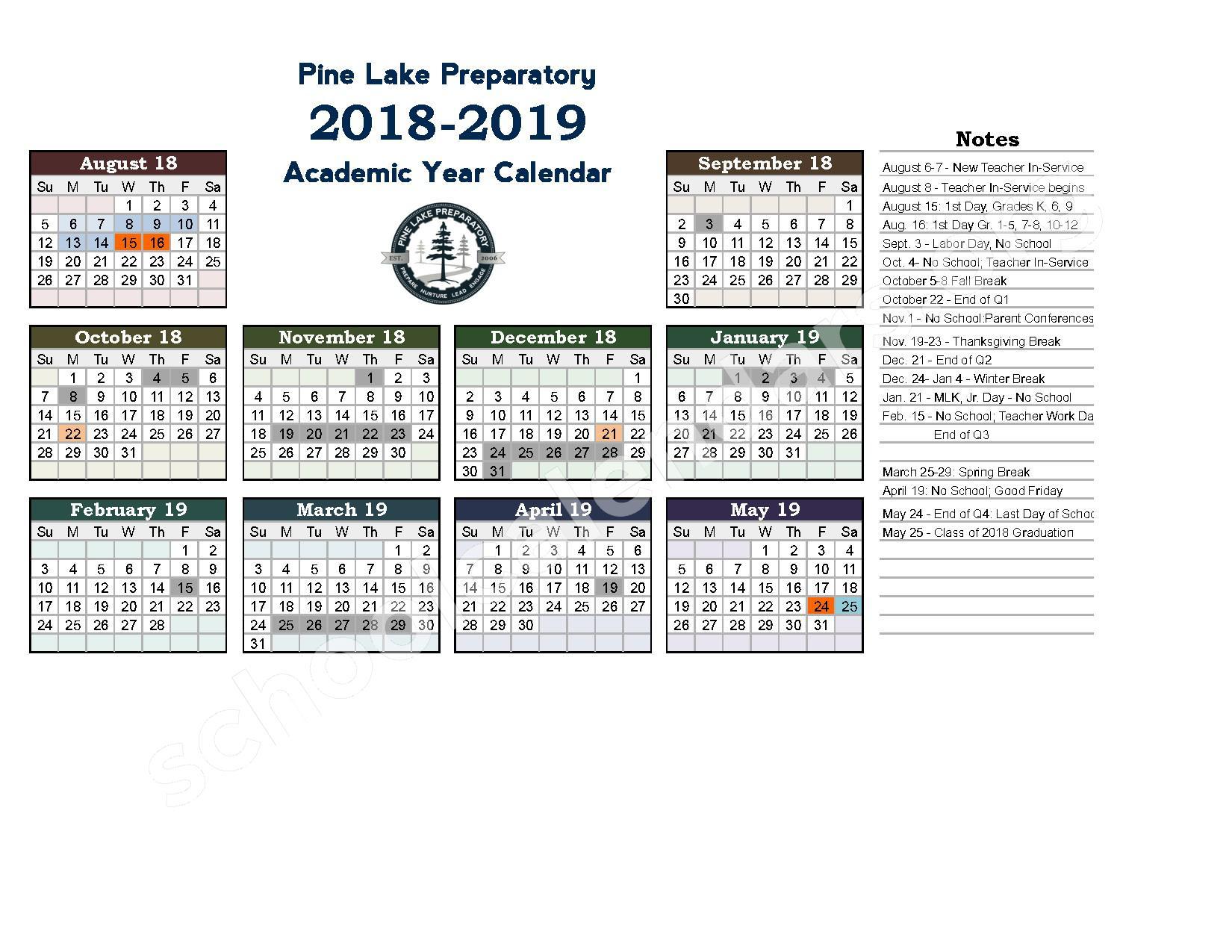 2018 - 2019 School Calendar – Pine Lake Preparatory – page 1