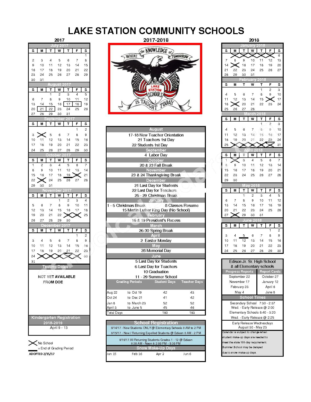 2017 - 2018 School Calendar – Lake Station Community Schools – page 1