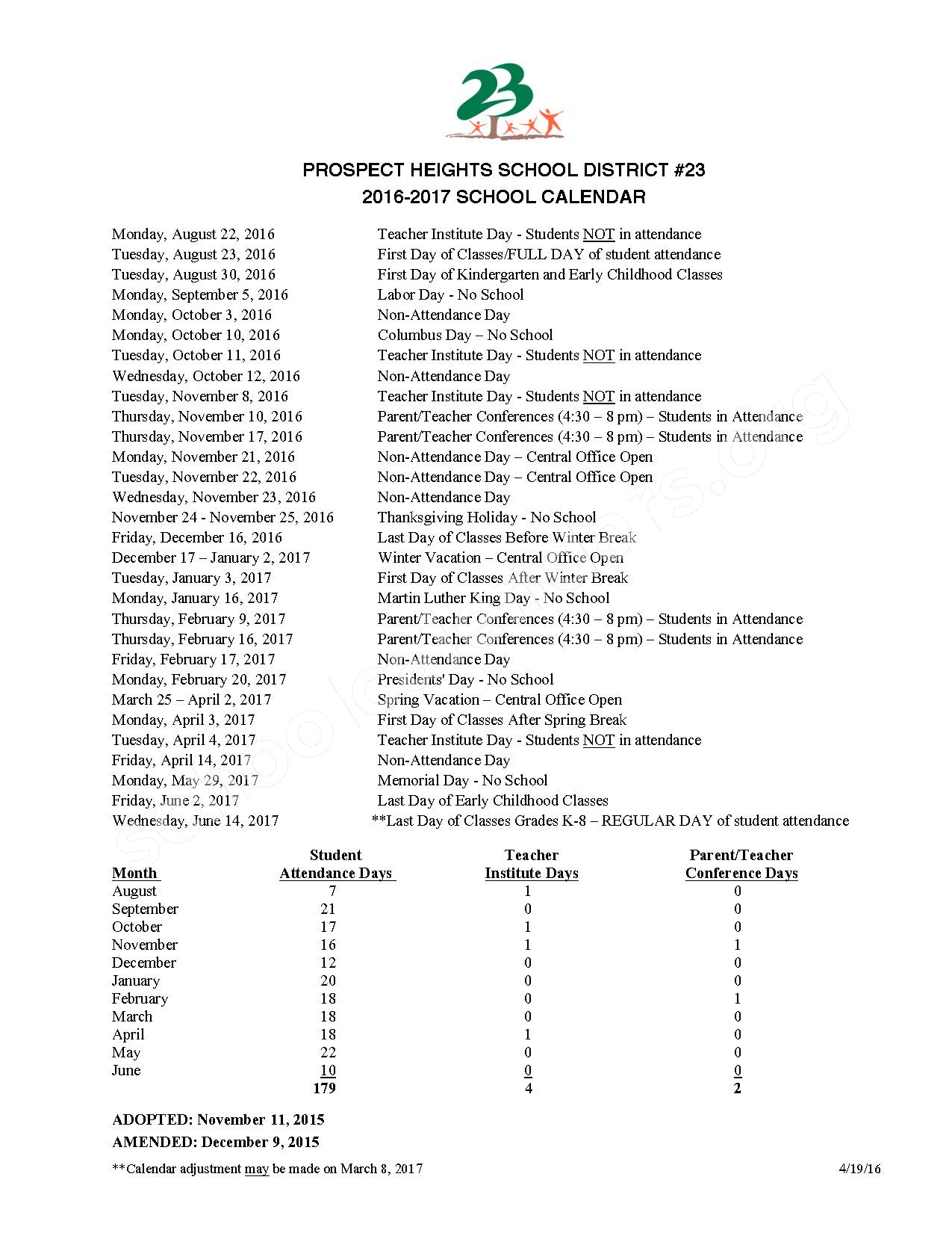 2016 - 2017 School Calendar – Prospect Heights School District 23 – page 1