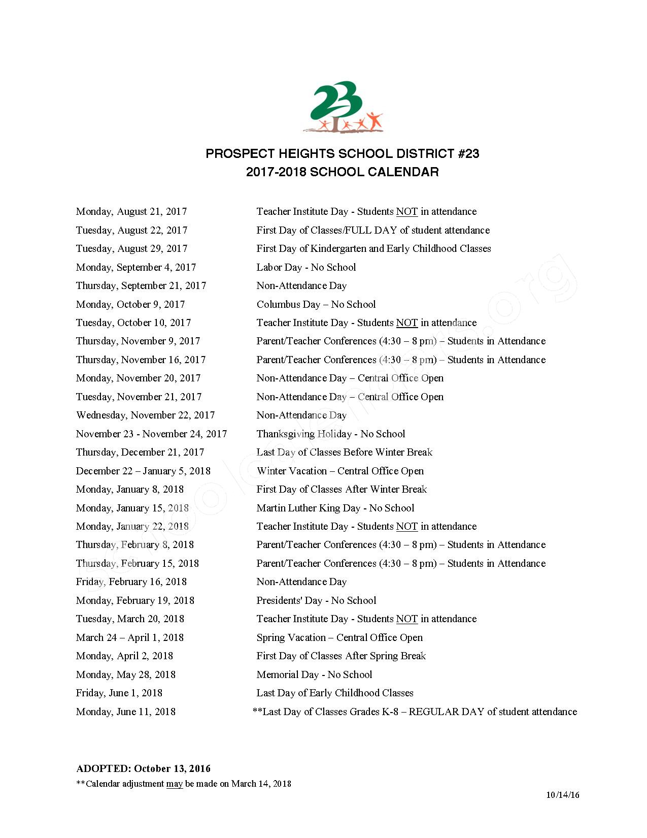 2017 - 2018 School Calendar – Prospect Heights School District 23 – page 1
