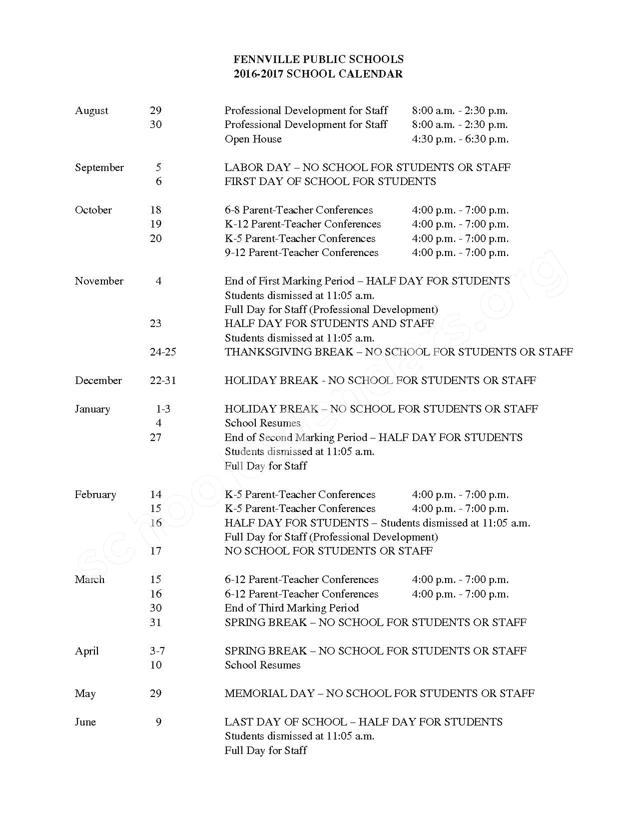 2016 - 2017 School Calendar – Pearl Alternative / Adult Education School – page 1