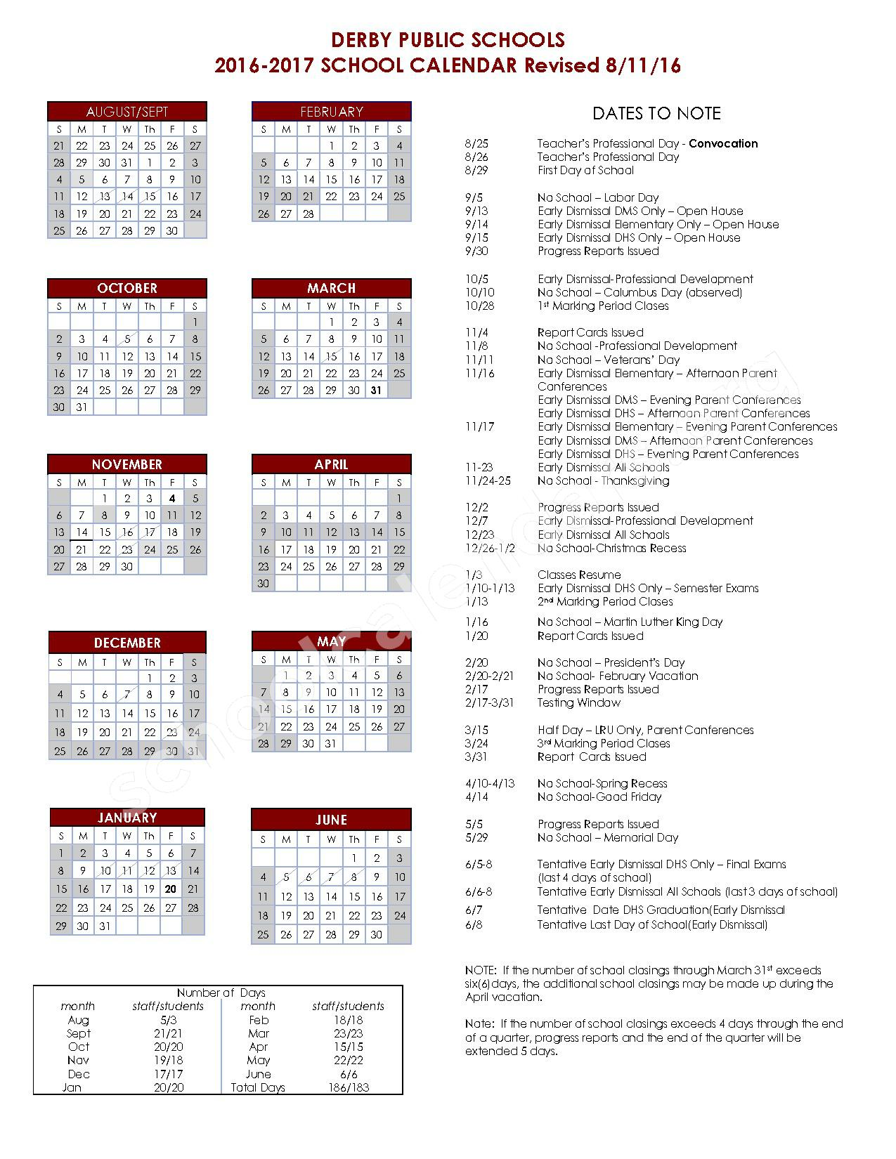 2016 - 2017 District Calendar – Derby Middle School – page 1