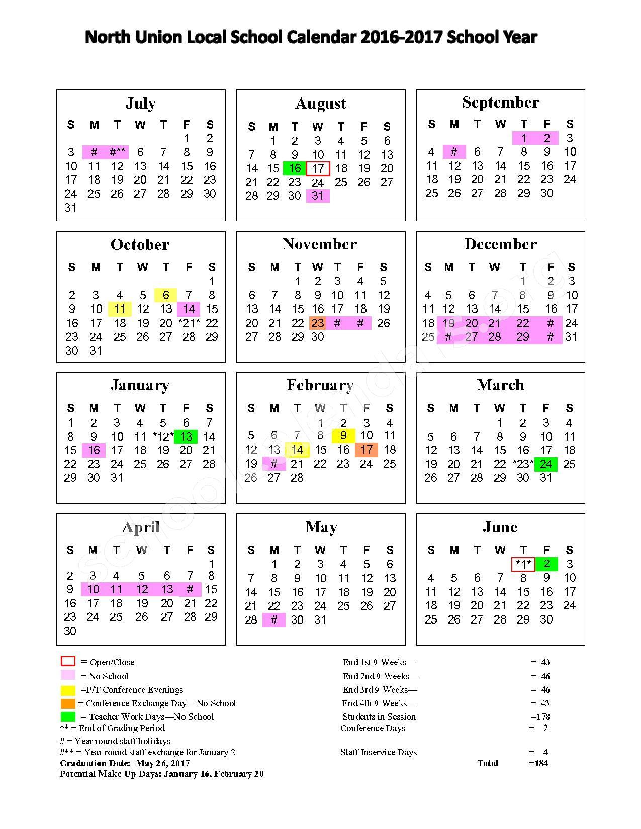 2016 - 2017 School Calendar – North Union Local School District – page 1
