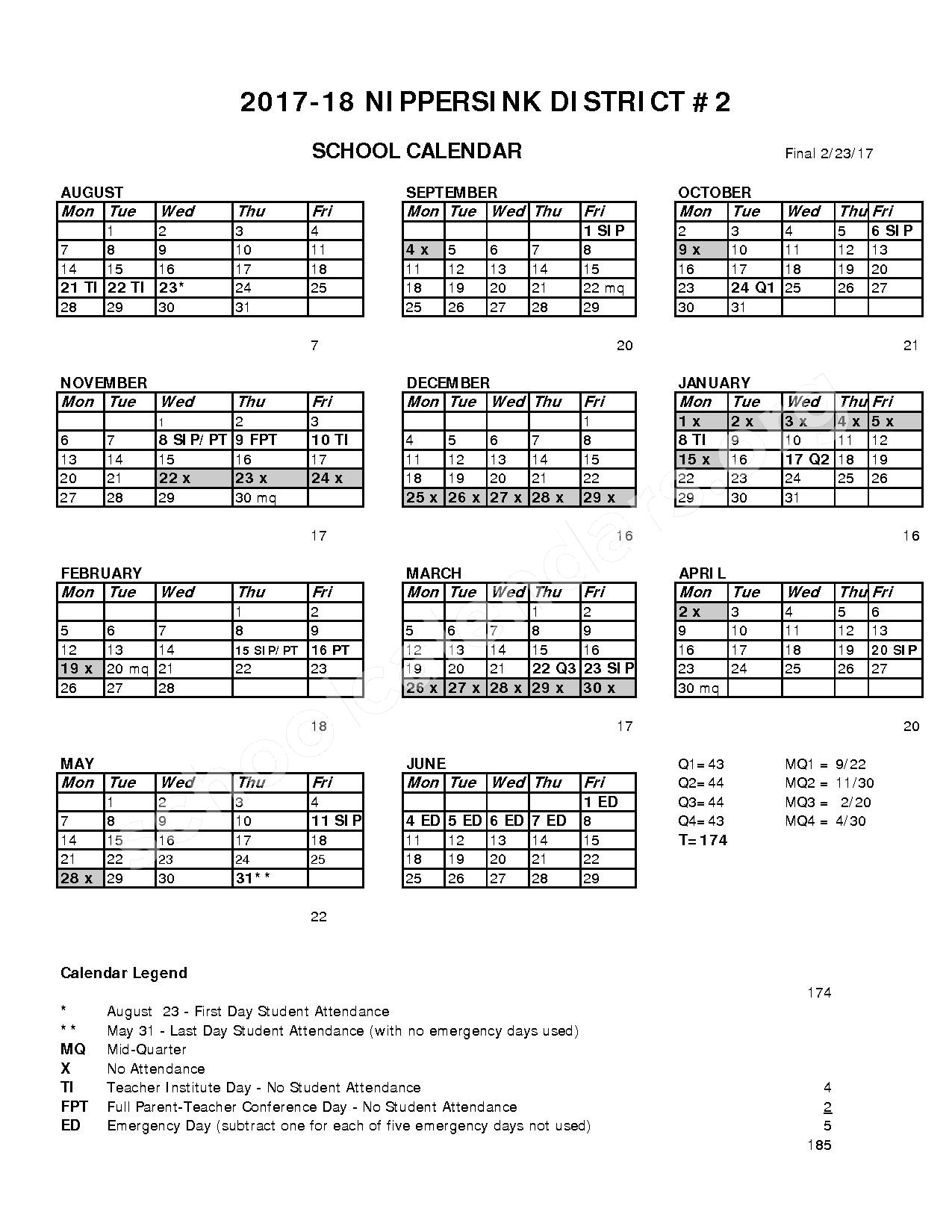 2017 - 2018 District Calendar – Nippersink School District 2 – page 1