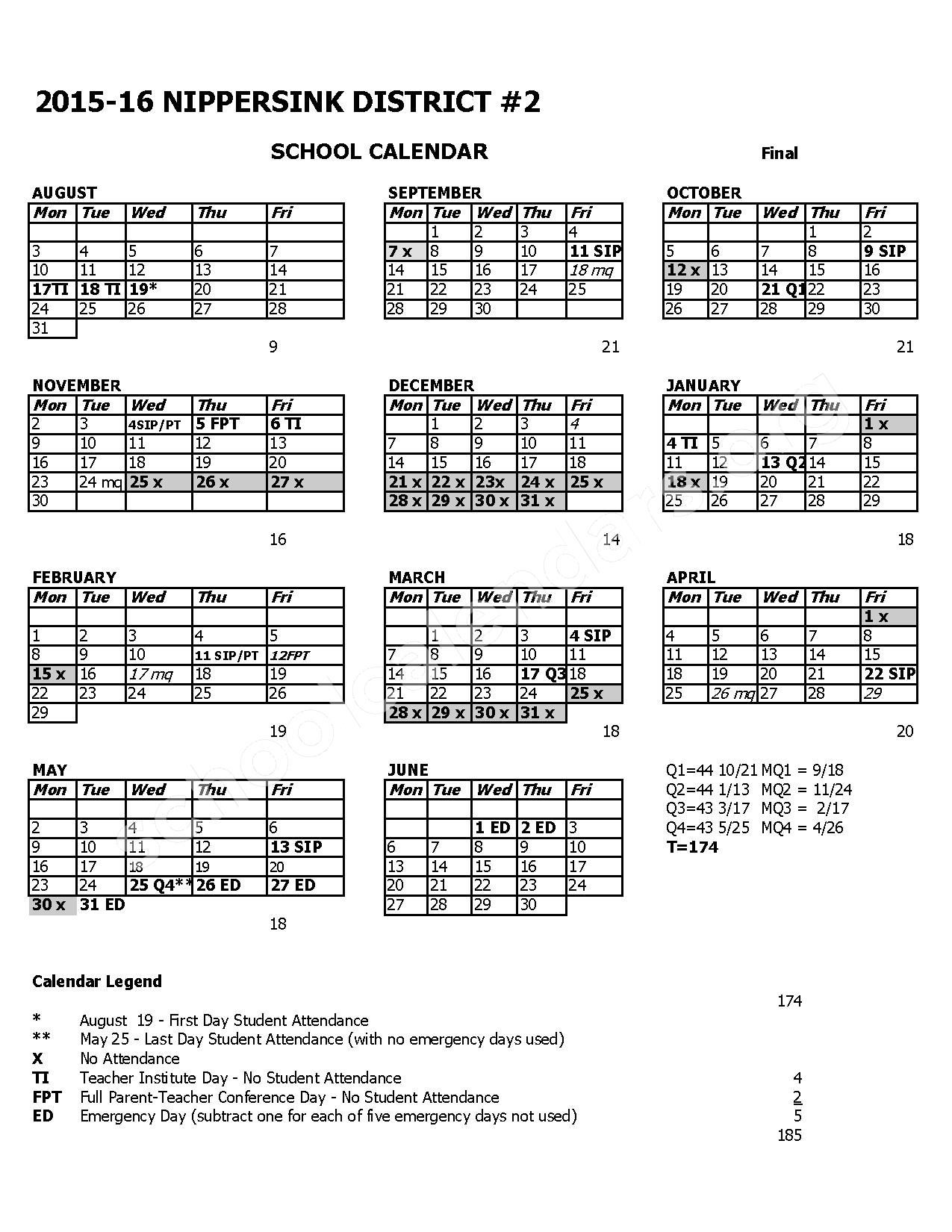 2015 - 2016 District Calendar – Nippersink School District 2 – page 1