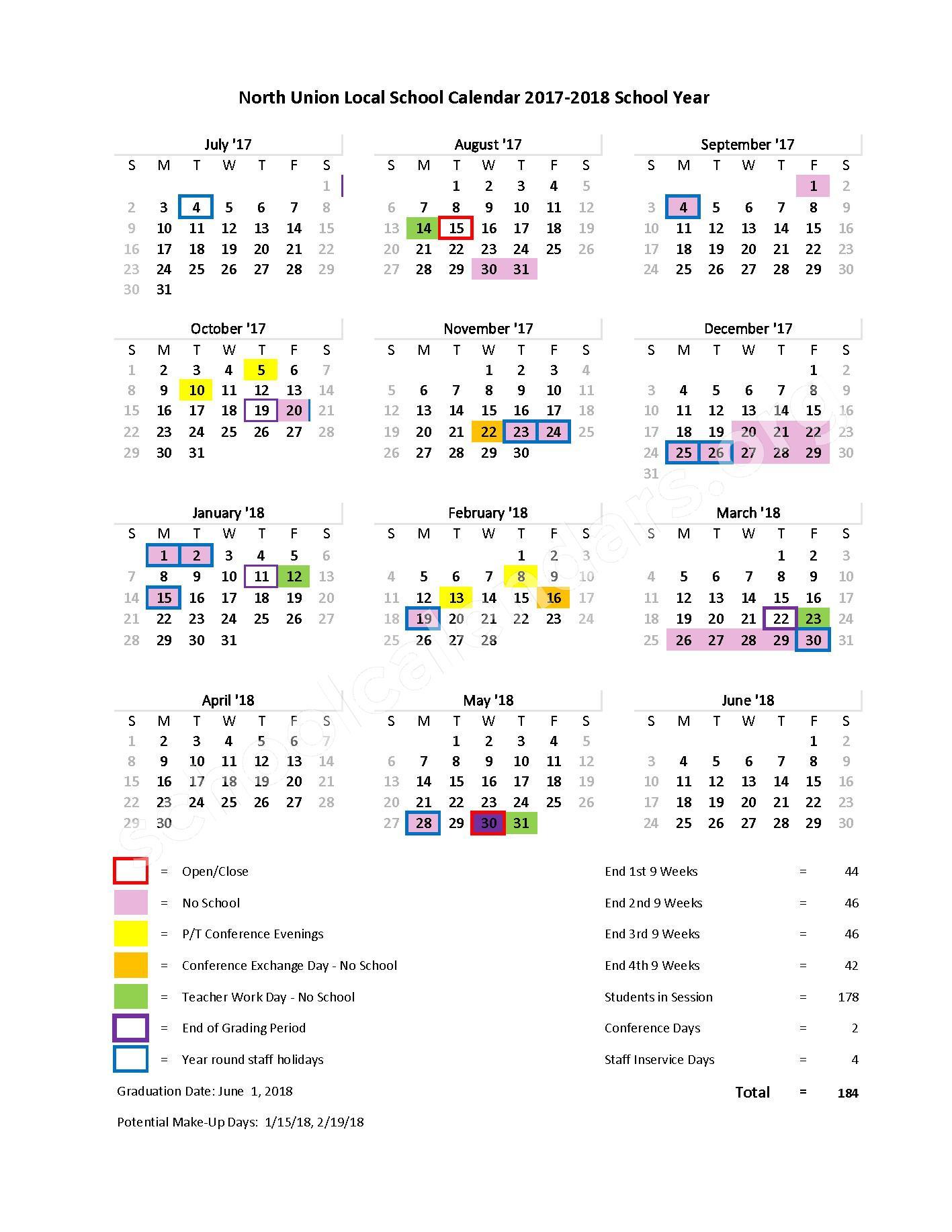 2017 - 2018 School Calendar – North Union Local School District – page 1