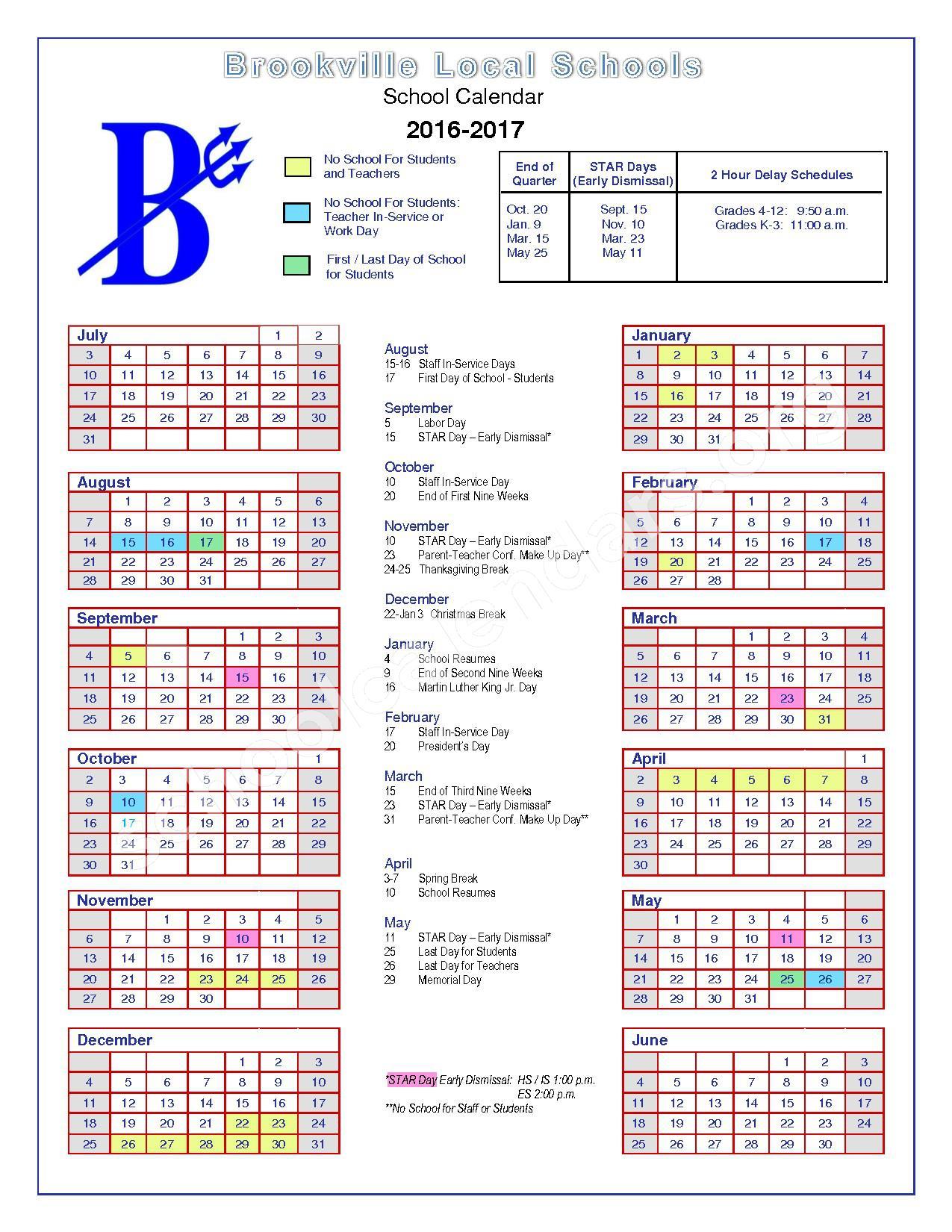 2016 - 2017 District Calendar – Brookville Local Schools – page 1