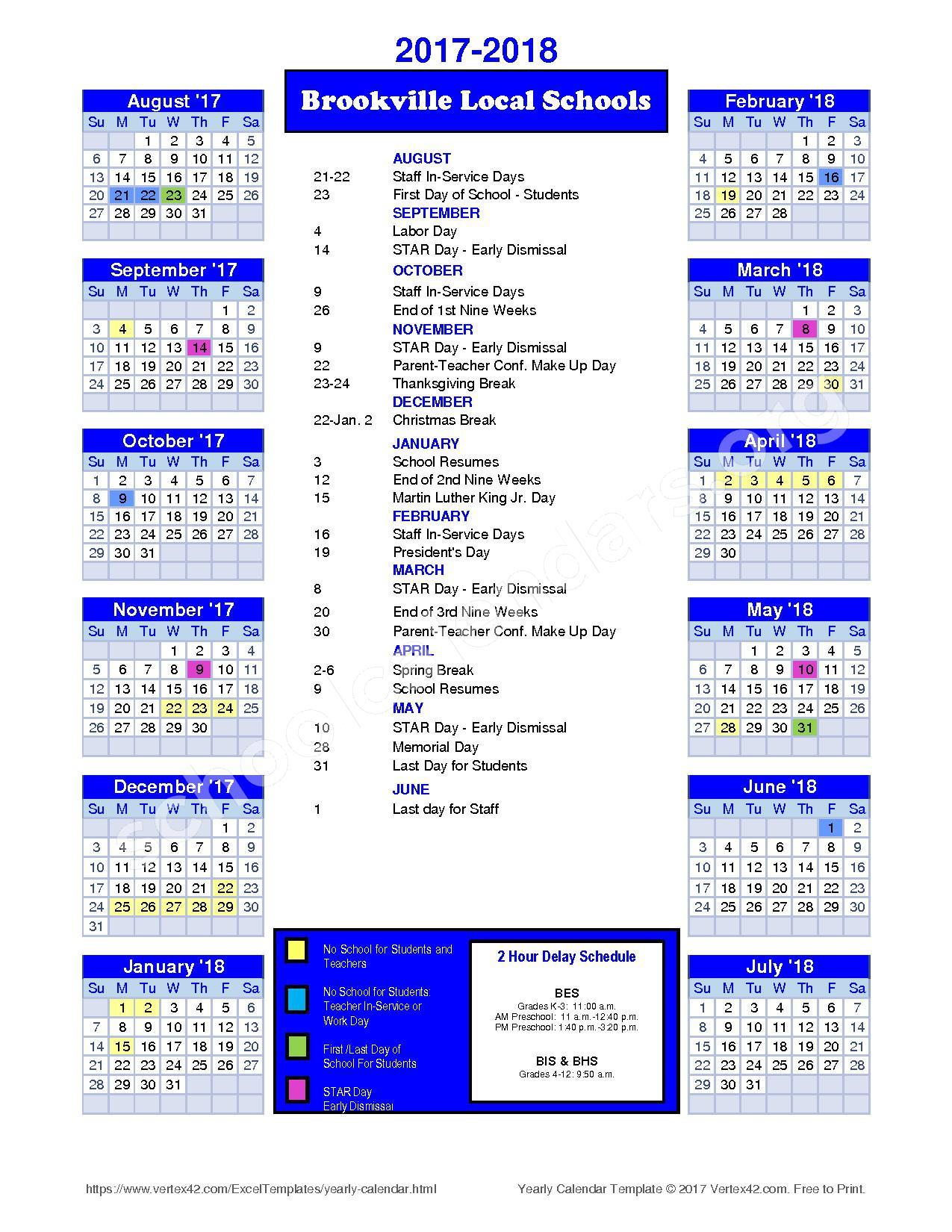 2017 - 2018 District Calendar – Brookville Local Schools – page 1