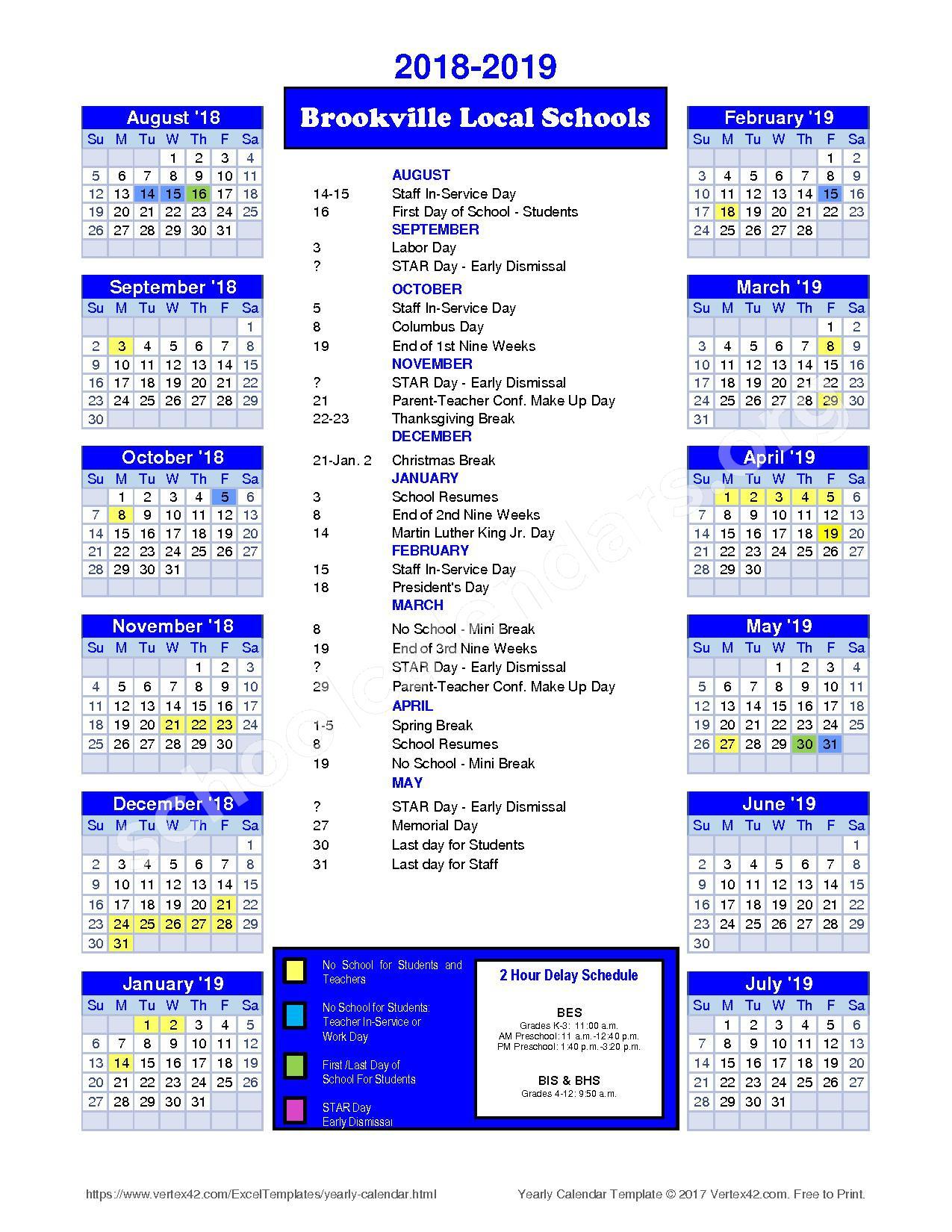 2018 - 2019 District Calendar – Brookville Local Schools – page 1
