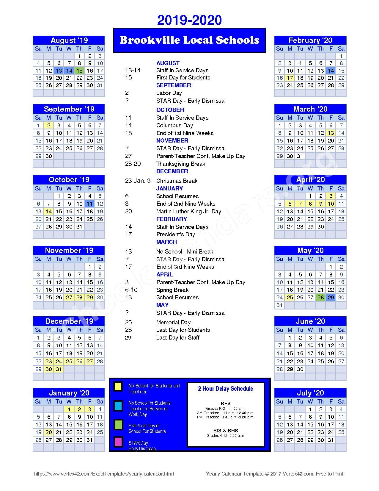 2019 - 2020 District Calendar – Brookville Local Schools – page 1