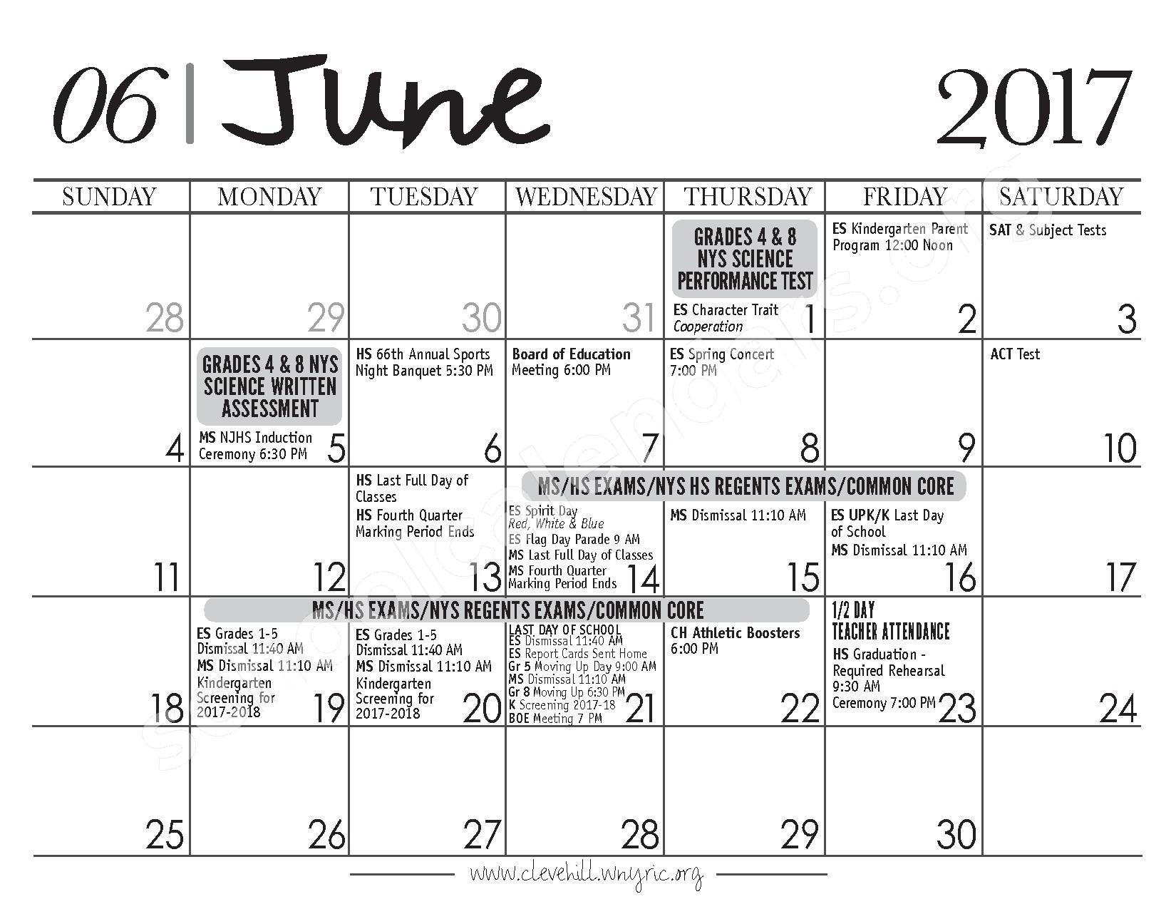 2017 - 2018 District Calendar – Cleveland Hill Union Free School District – page 12