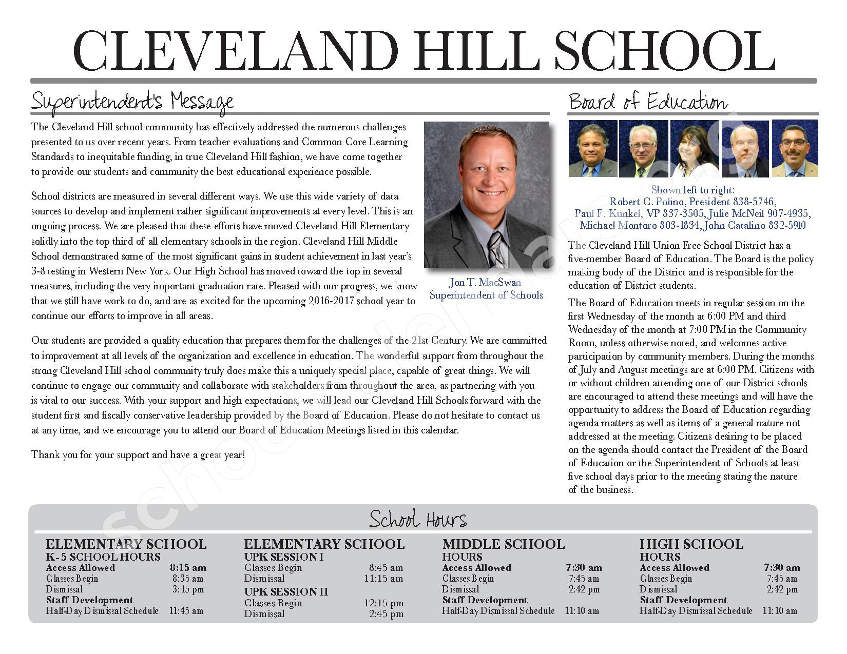 2017 - 2018 District Calendar – Cleveland Hill Union Free School District – page 15