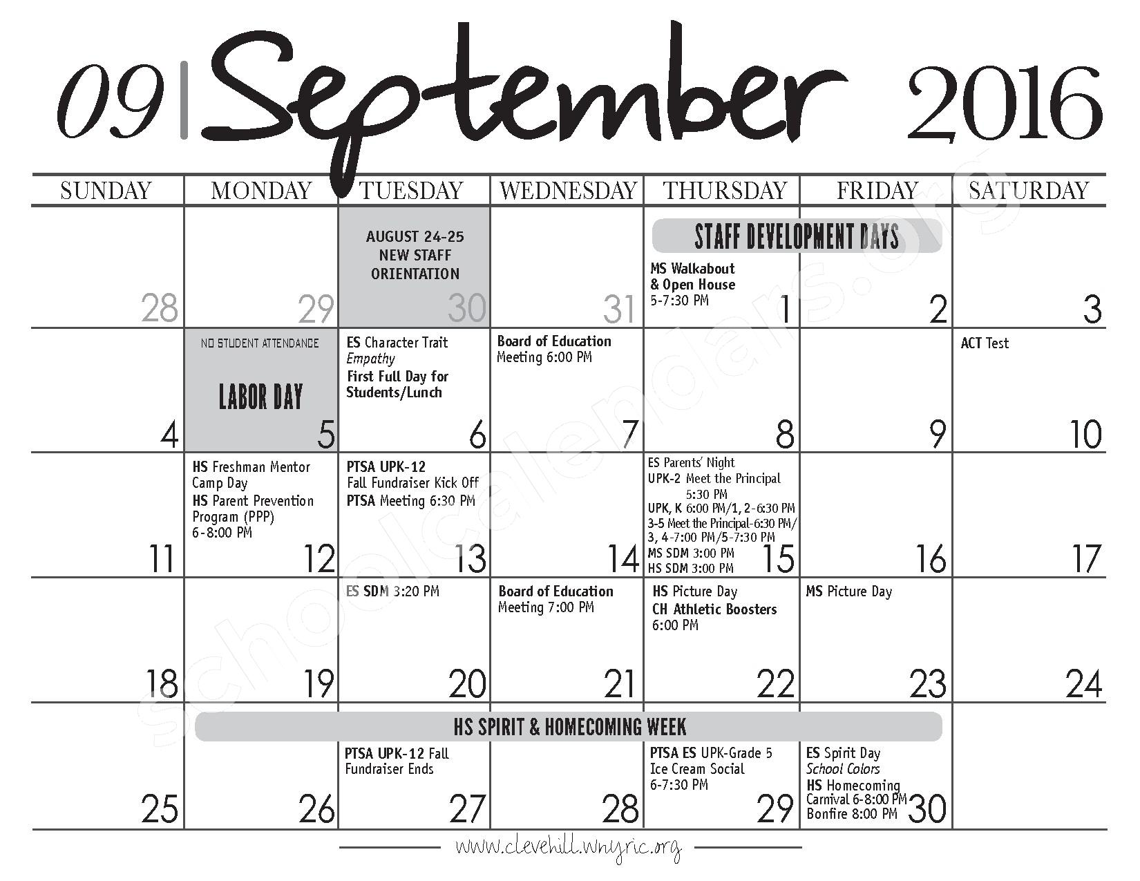 2017 - 2018 District Calendar – Cleveland Hill Union Free School District – page 3