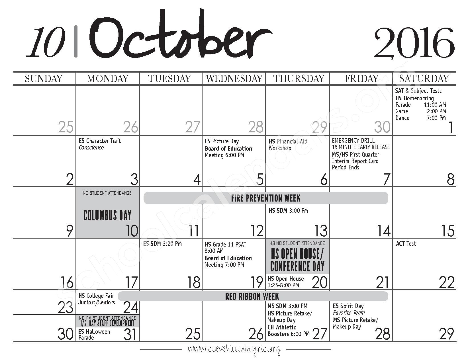 2017 - 2018 District Calendar – Cleveland Hill Union Free School District – page 4
