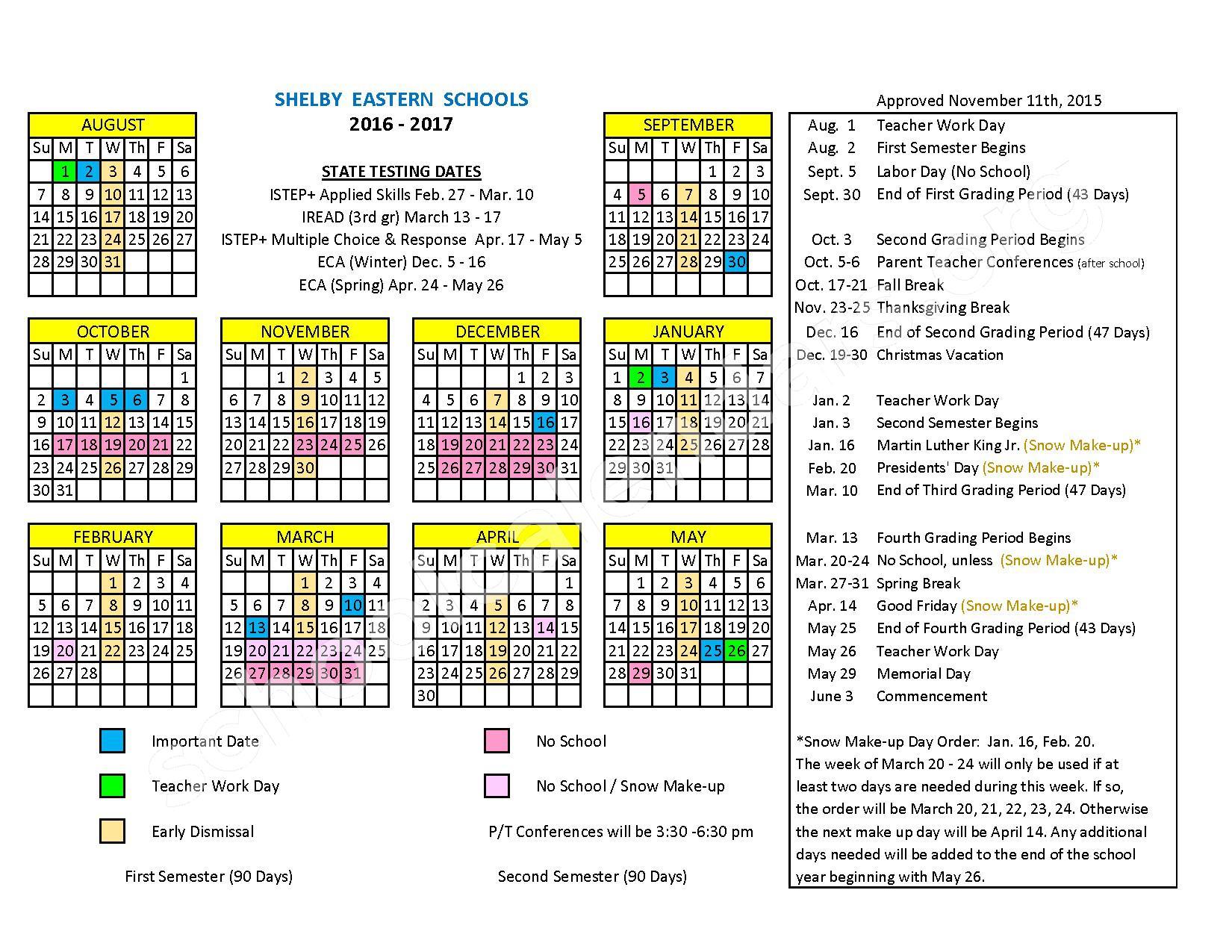 2016 - 2017 School Calendar – Shelby Eastern Schools – page 1