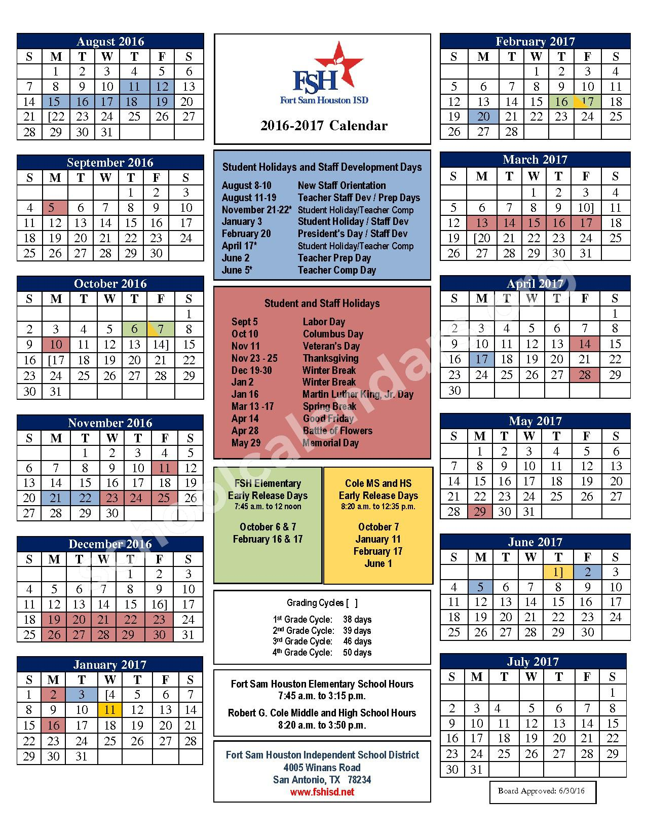 2016 - 2017  District Calendar – Fort Sam Houston Independent School District – page 1