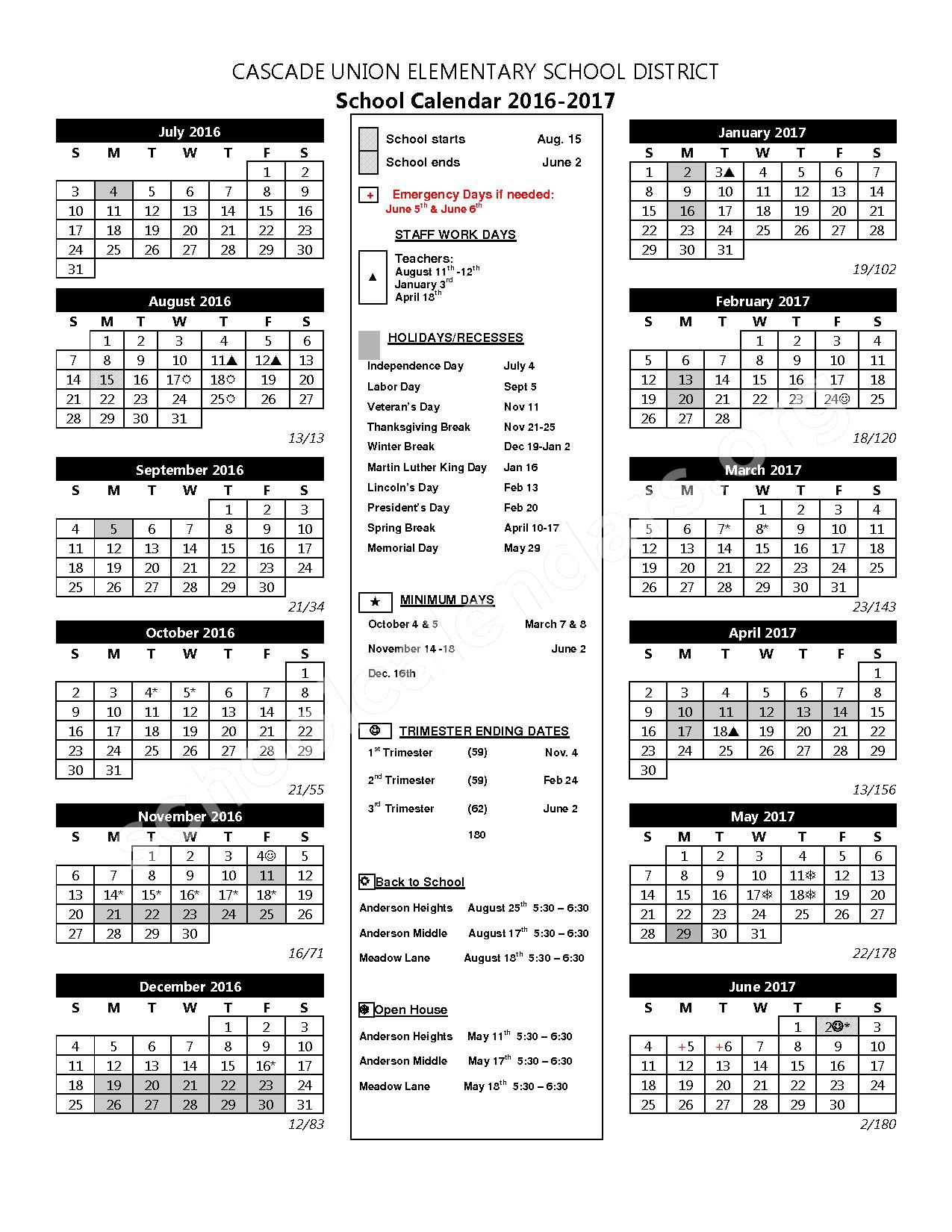 2016 - 2017 School Calendar – Cascade Union Elementary School District – page 1