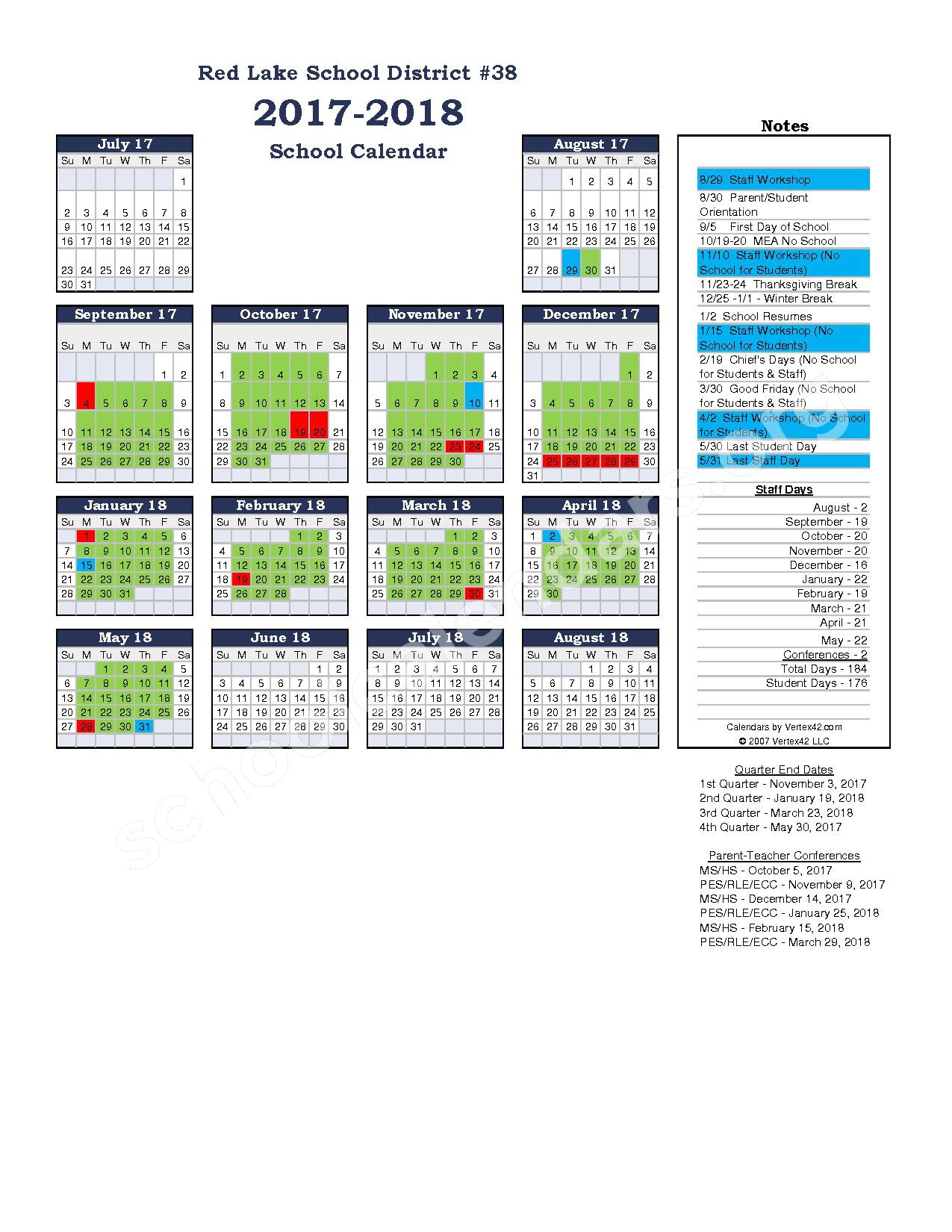 2017 - 2018 District Calendar – Red Lake Middle School – page 1