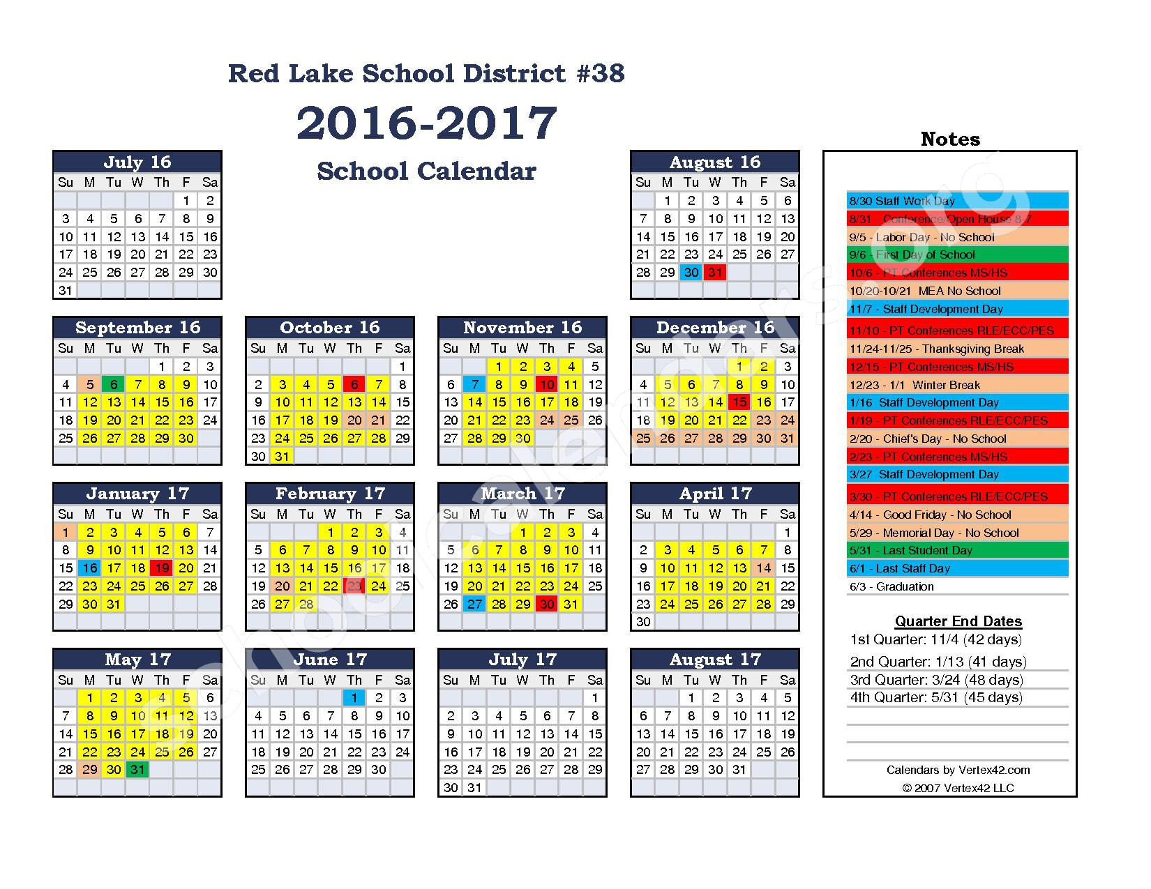 2016 - 2017 School Calendar – Red Lake Early Childhood Center – page 1