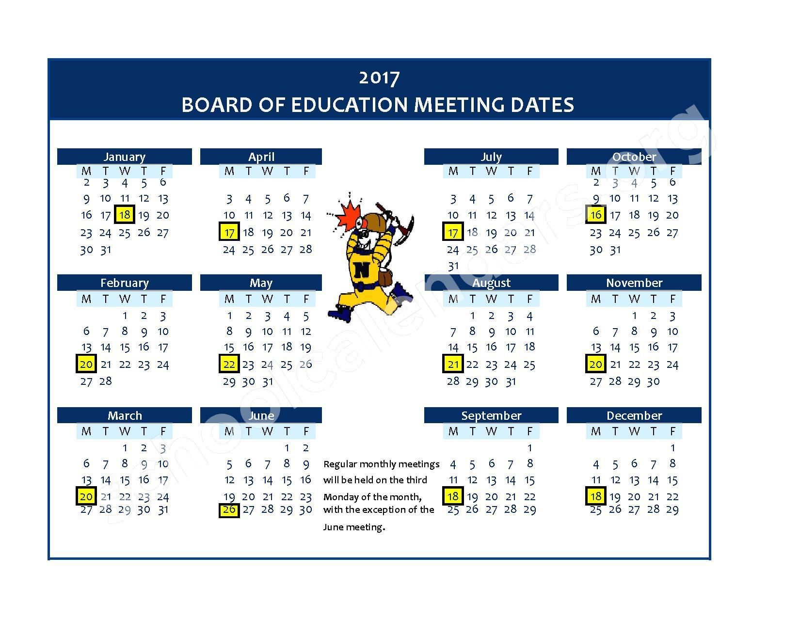 2017 Board Meeting Calendar – Negaunee Public Schools – page 1