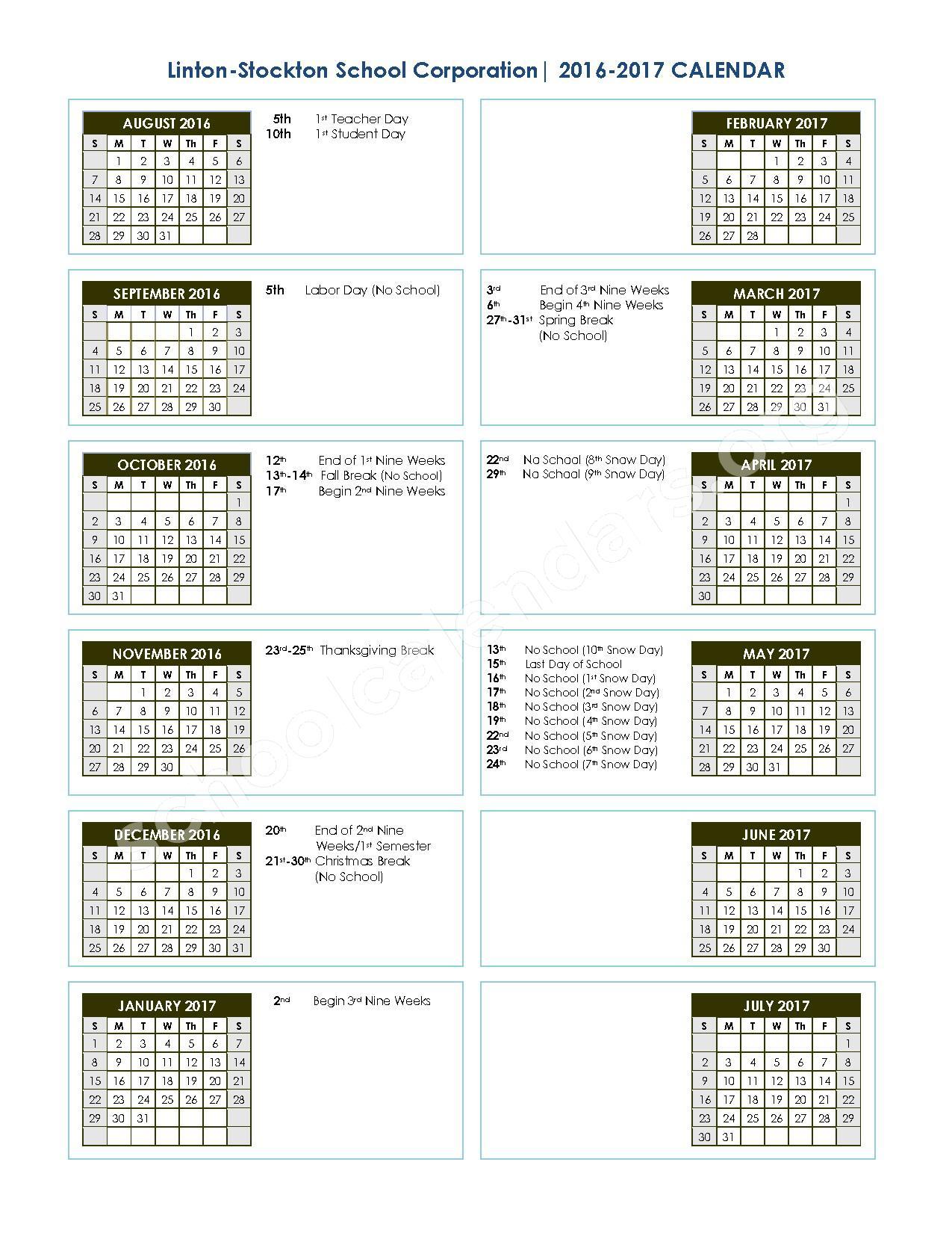 2016 - 2017 School Calendar – Linton-Stockton School Corporation – page 1