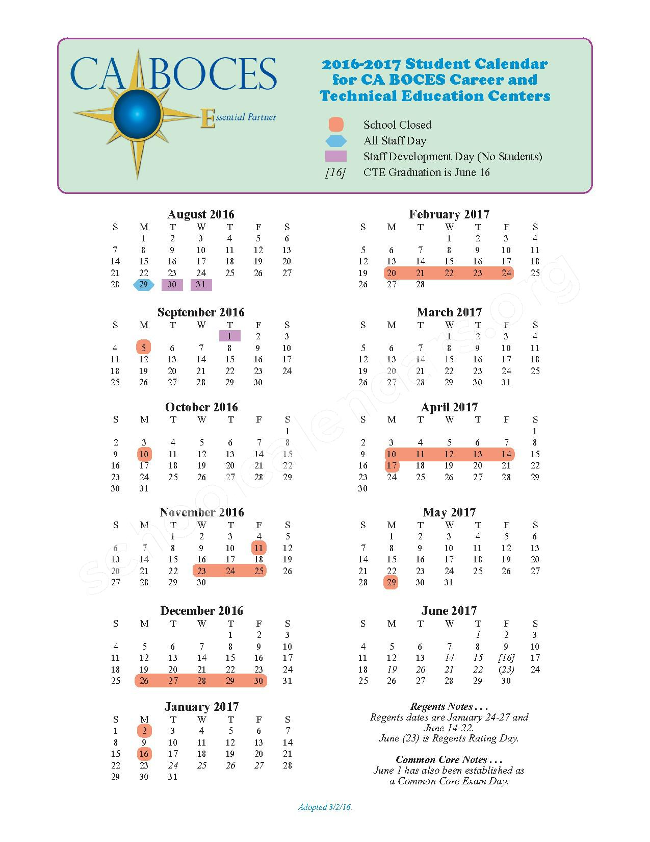 2016 - 2017 School Calendar – Salamanca City Central School District – page 1