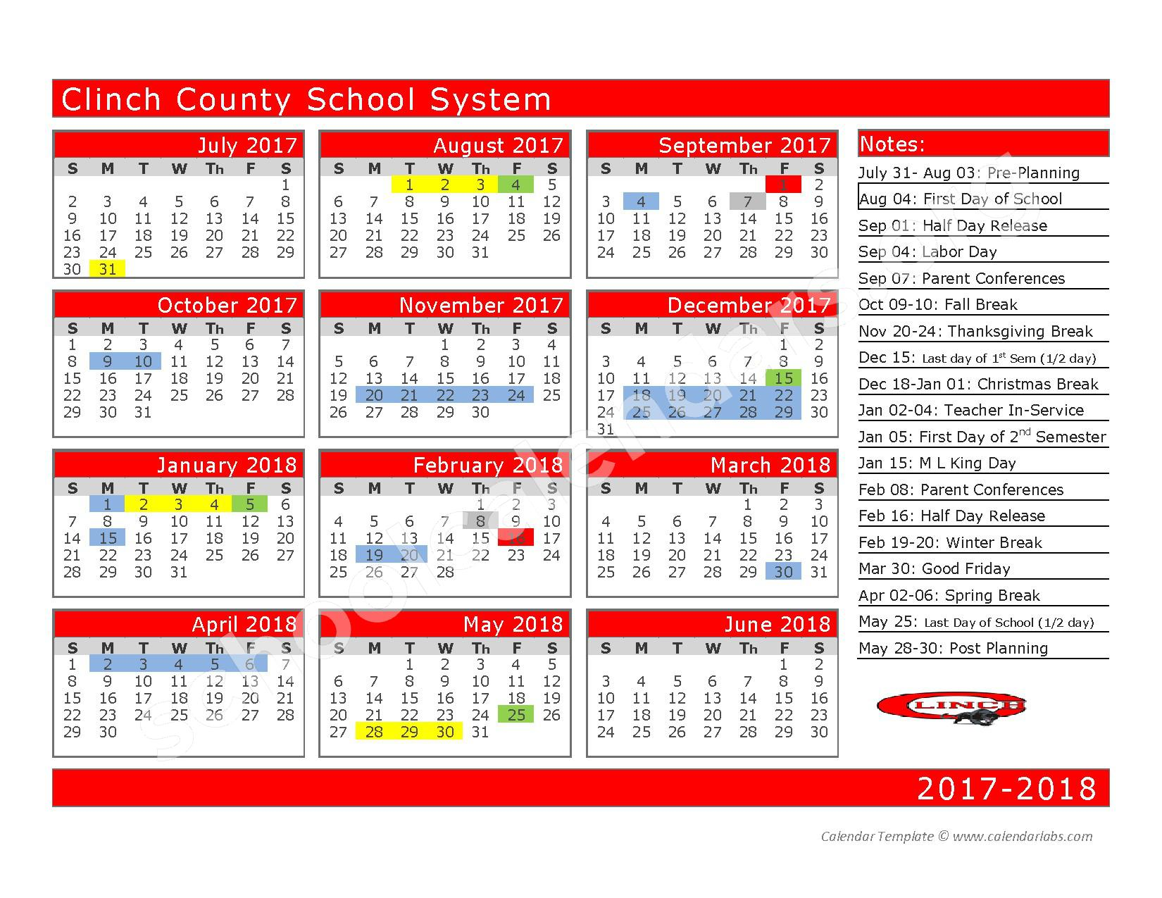 2017 - 2018 School Calendar – Clinch County School District – page 1