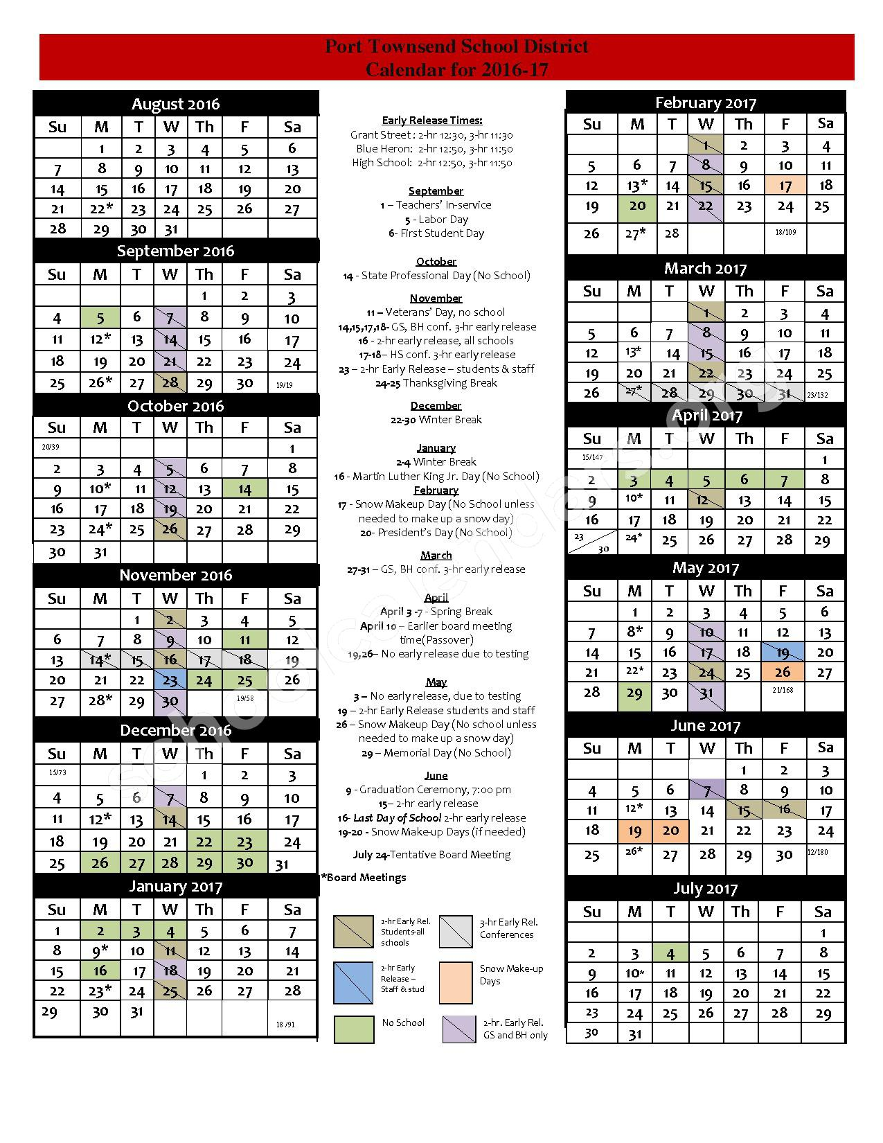 School District Calendar – Port Townsend School District – page 1