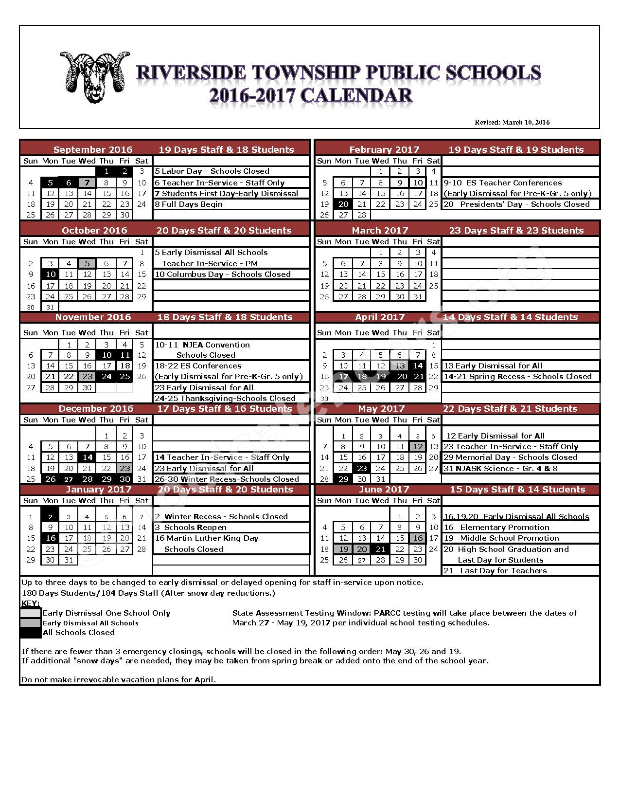 2016 - 2017 School Calendar – Riverside Middle School – page 1