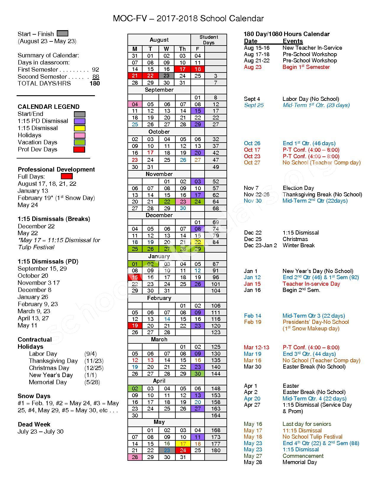 2017 - 2018 School Calendar – Moc-Floyd Valley Community School District – page 1