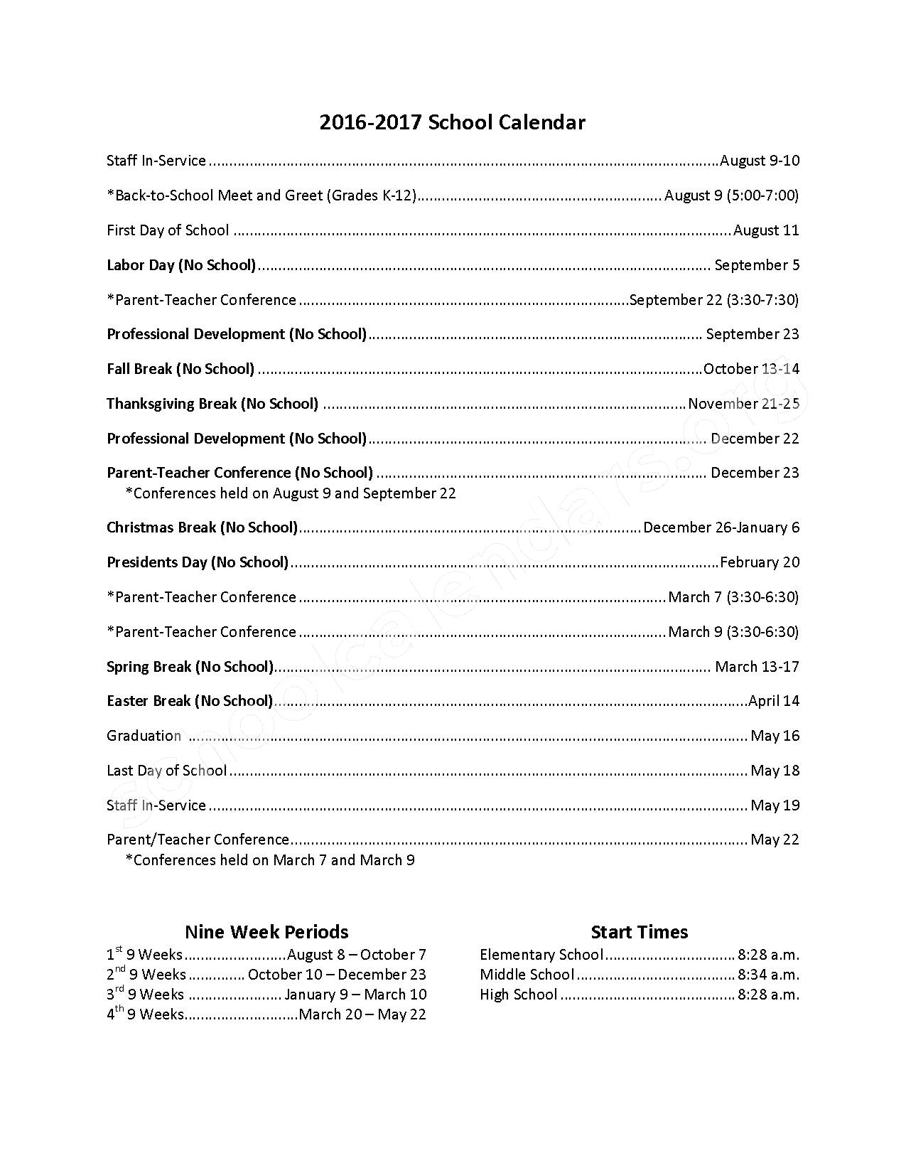 2016 - 2017  District Calendar – Stigler Elementary School – page 1