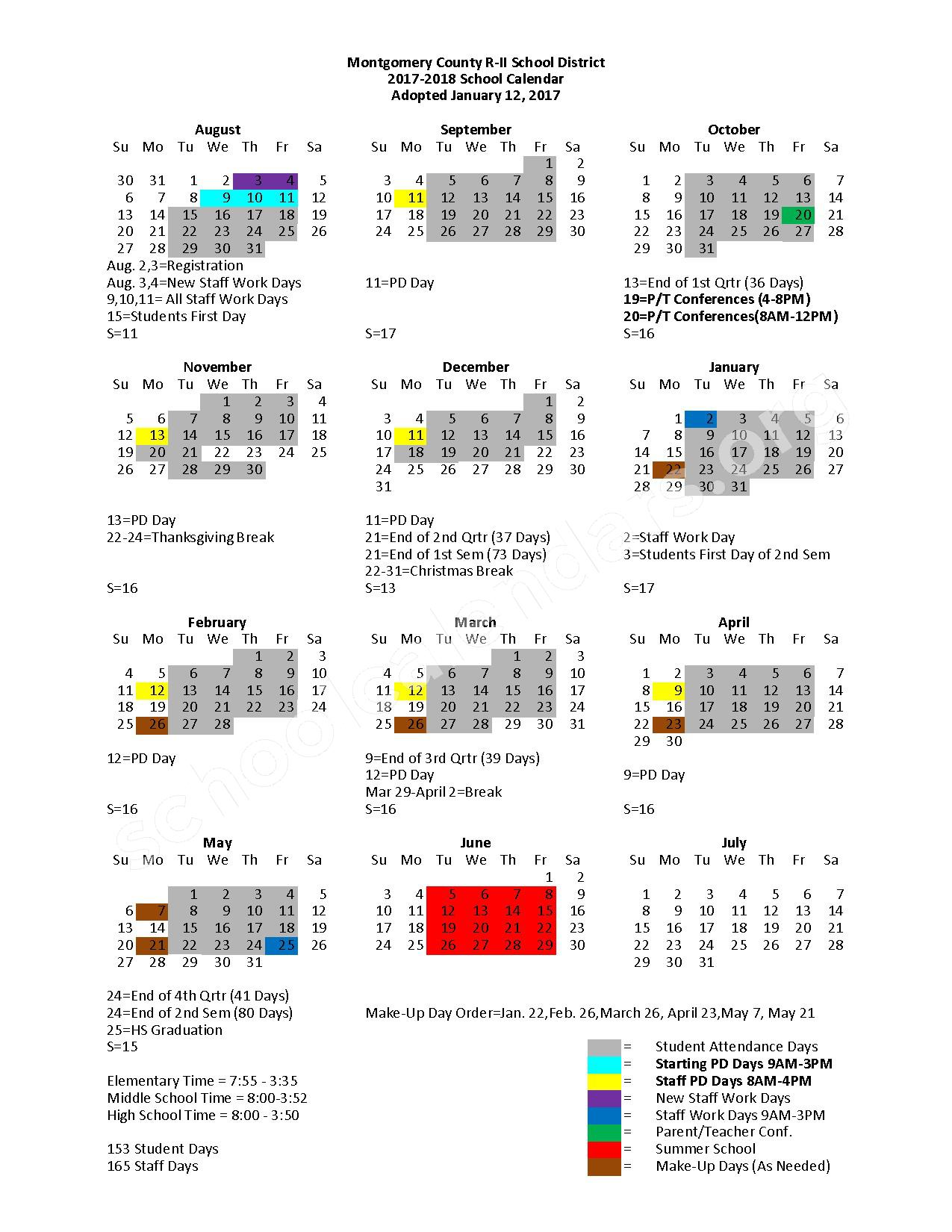 2017 - 2018 District Calendar – Montgomery County R-II School District – page 1