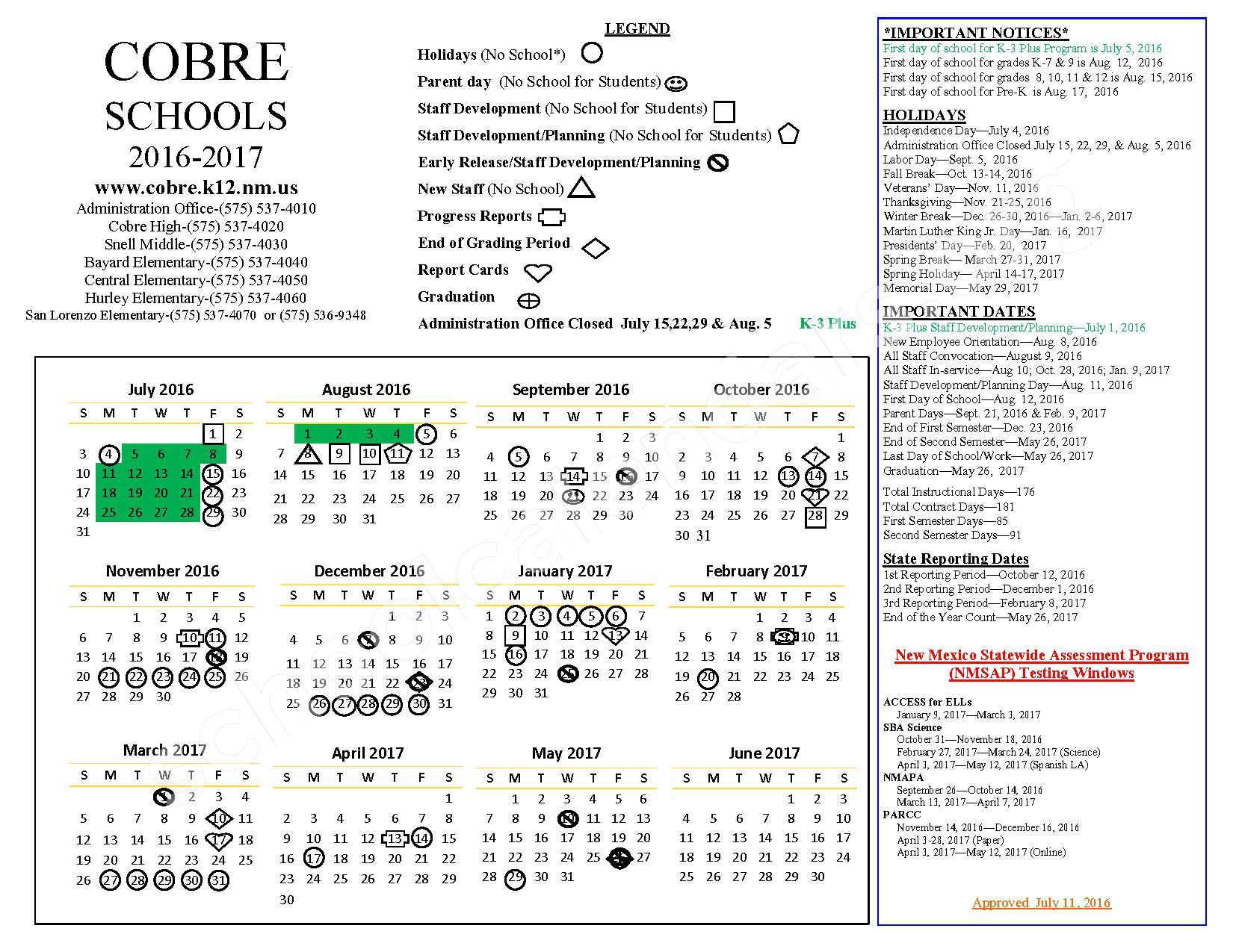 2016 - 2017 School Calendar – Cobre Consolidated Schools – page 1