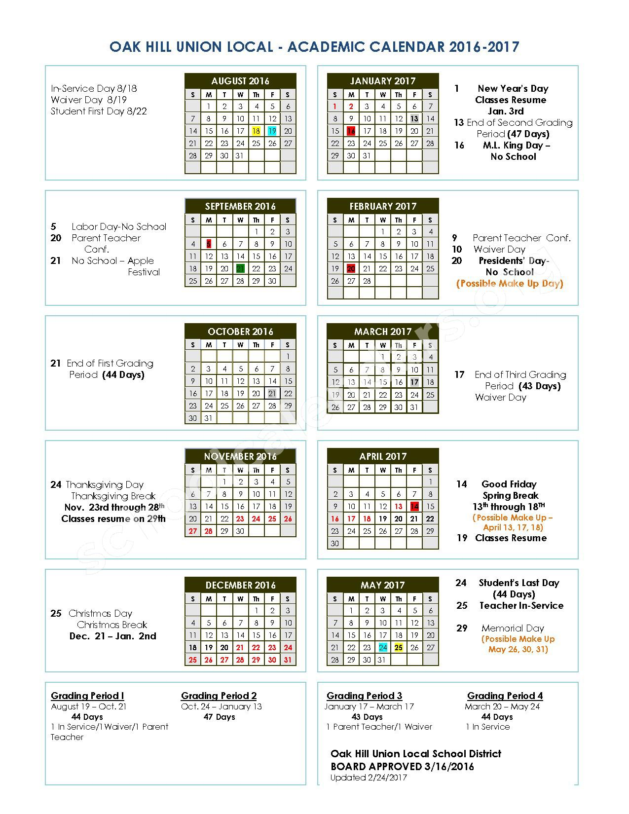 2016 - 2017 District Calendar – Oak Hill Elementary School – page 1