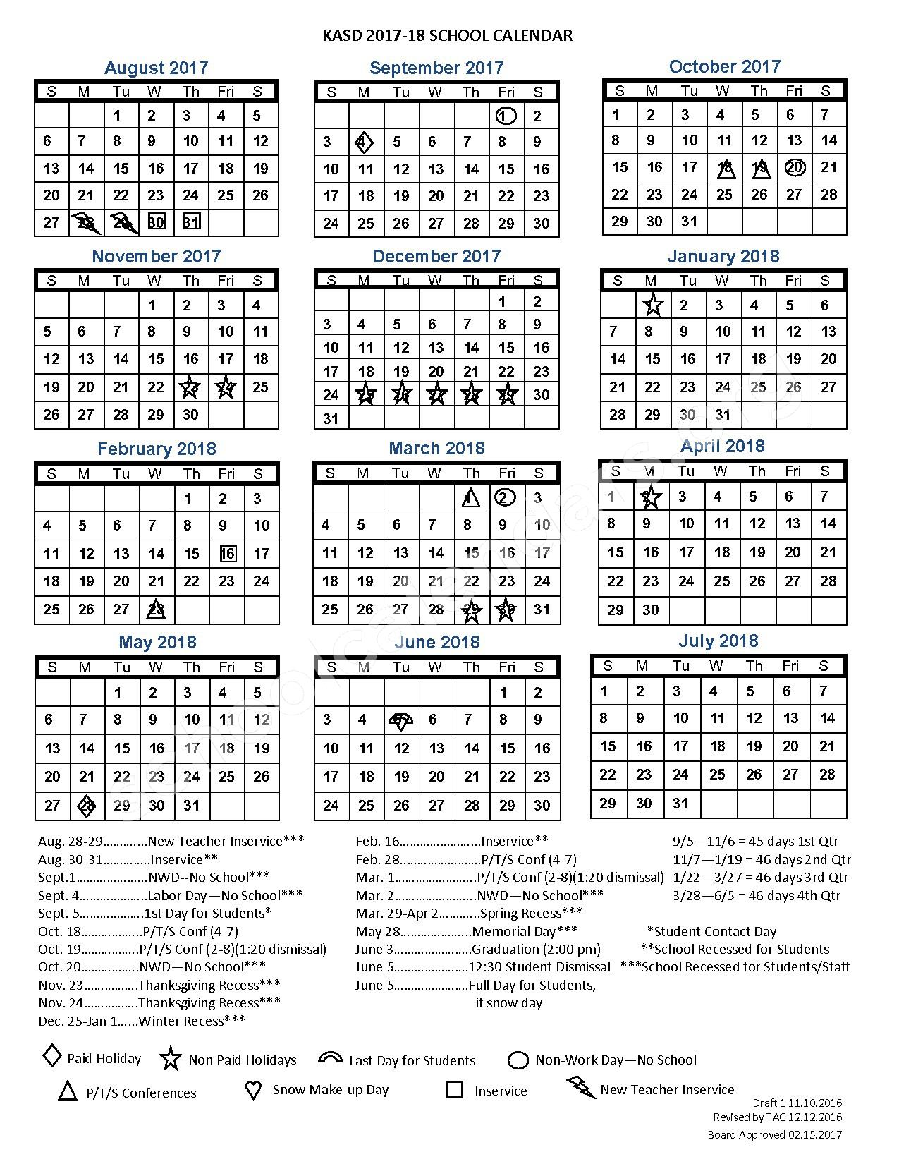 2017 - 2018 School Calendar – Kiel Area School District – page 1