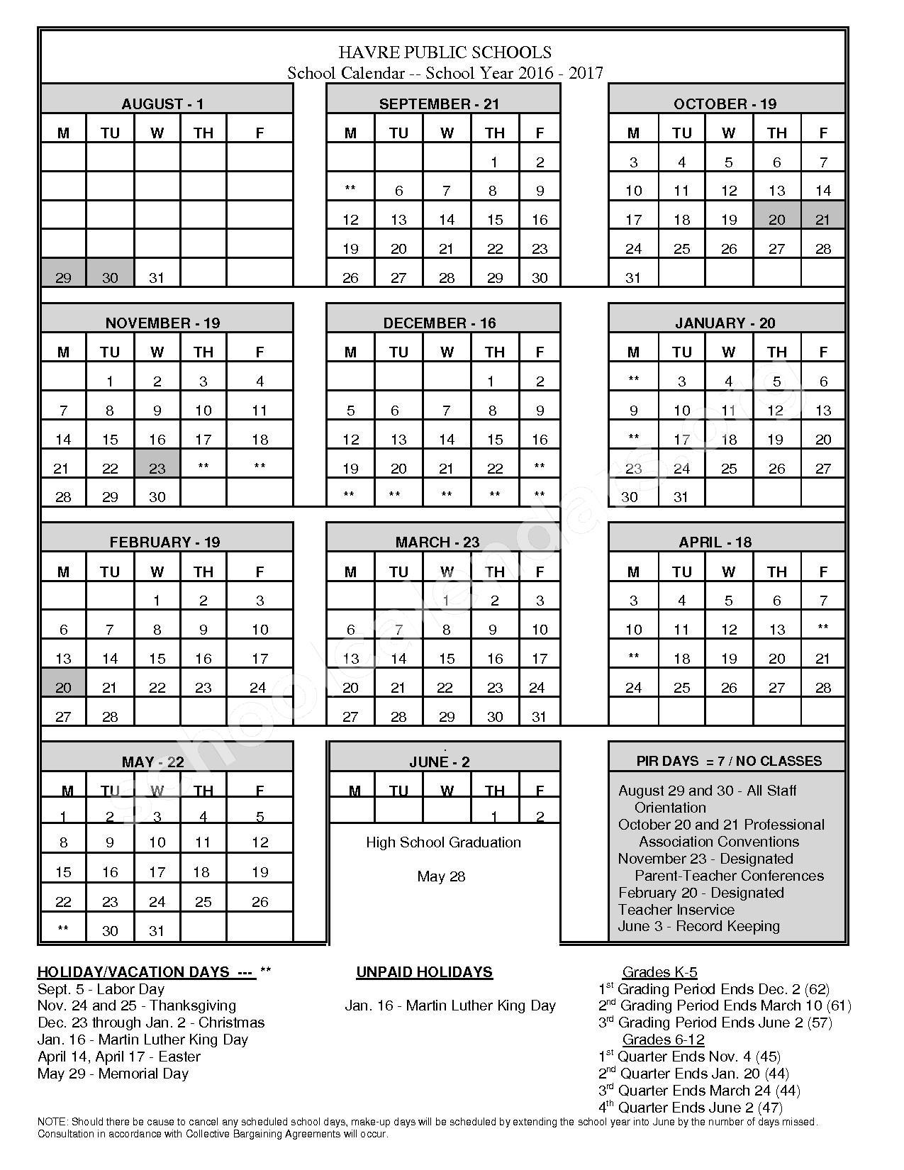 2016 - 2017 School Calendar – Havre Public Schools – page 1