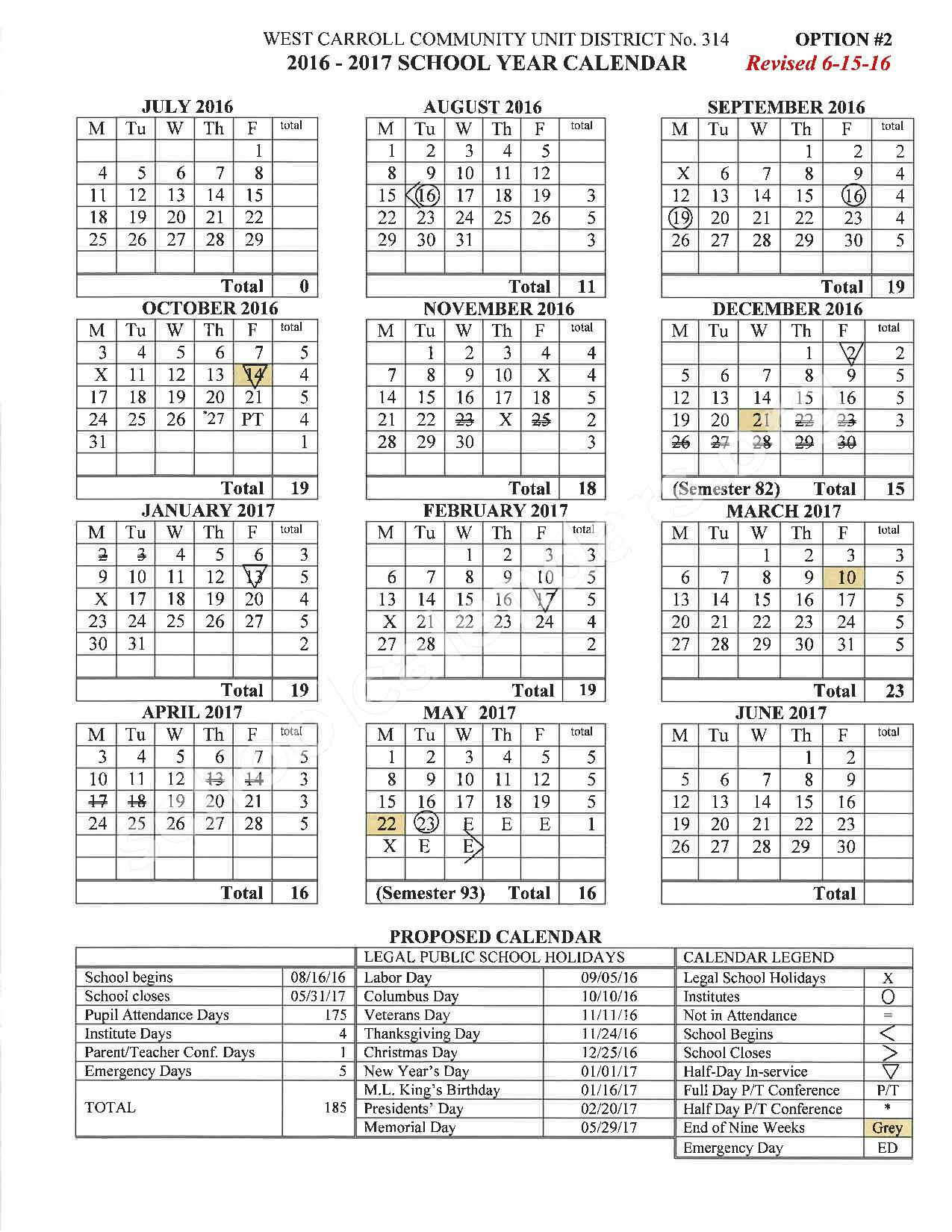 2016 - 2017 School Calendar – West Carroll Community Unit School District 314 – page 1