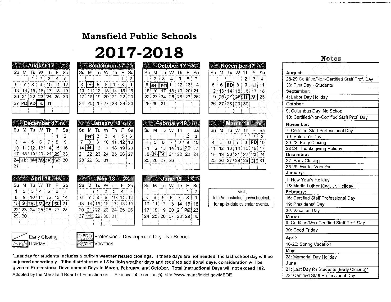 2017 - 2018 District Calendar – Mansfield School District – page 1