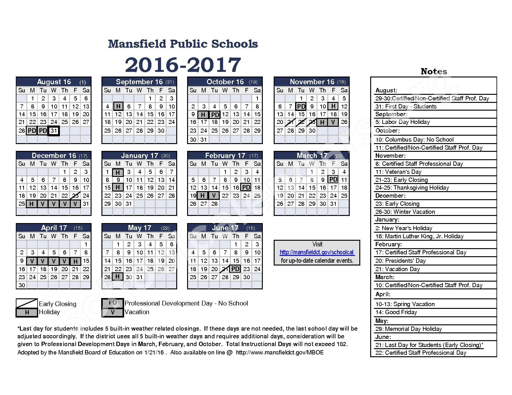 2016 - 2017 District Calendar Draft – Mansfield School District – page 1