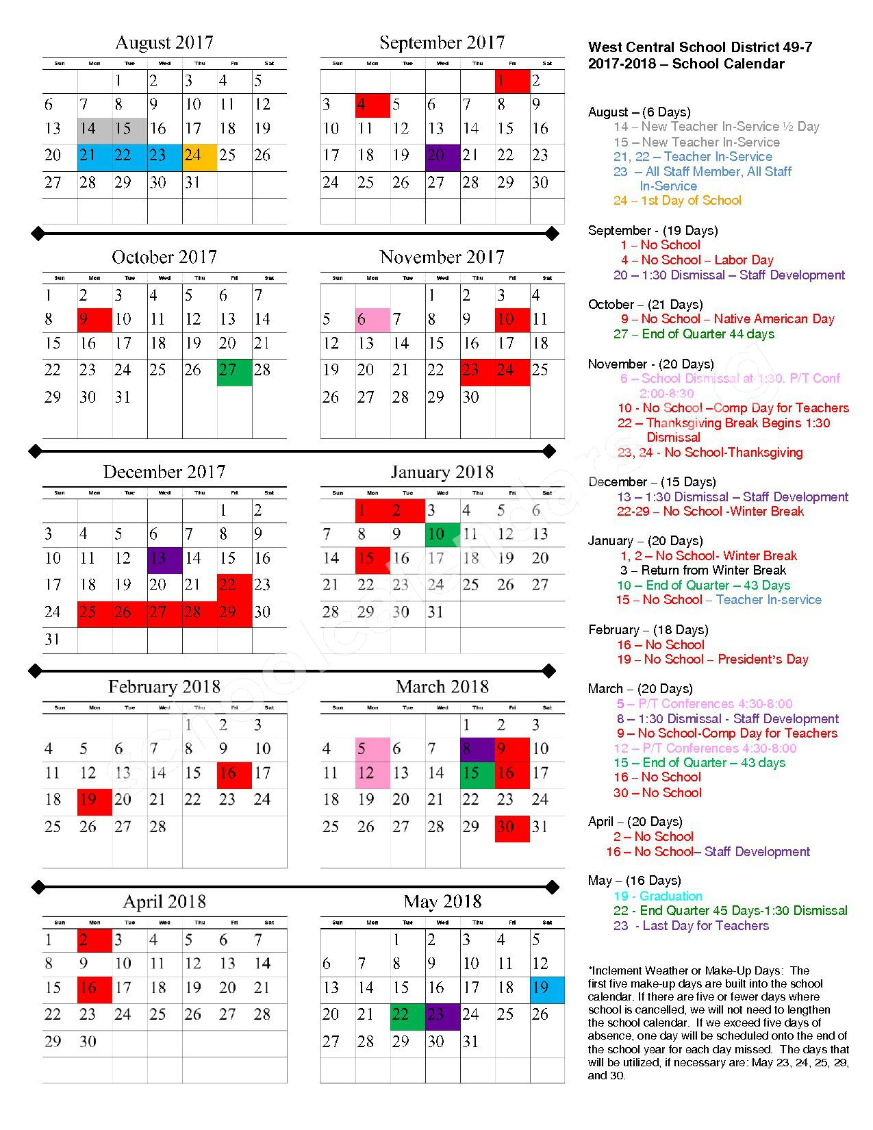 2017 - 2018 School Calendar – West Central School District 49-7 – page 1