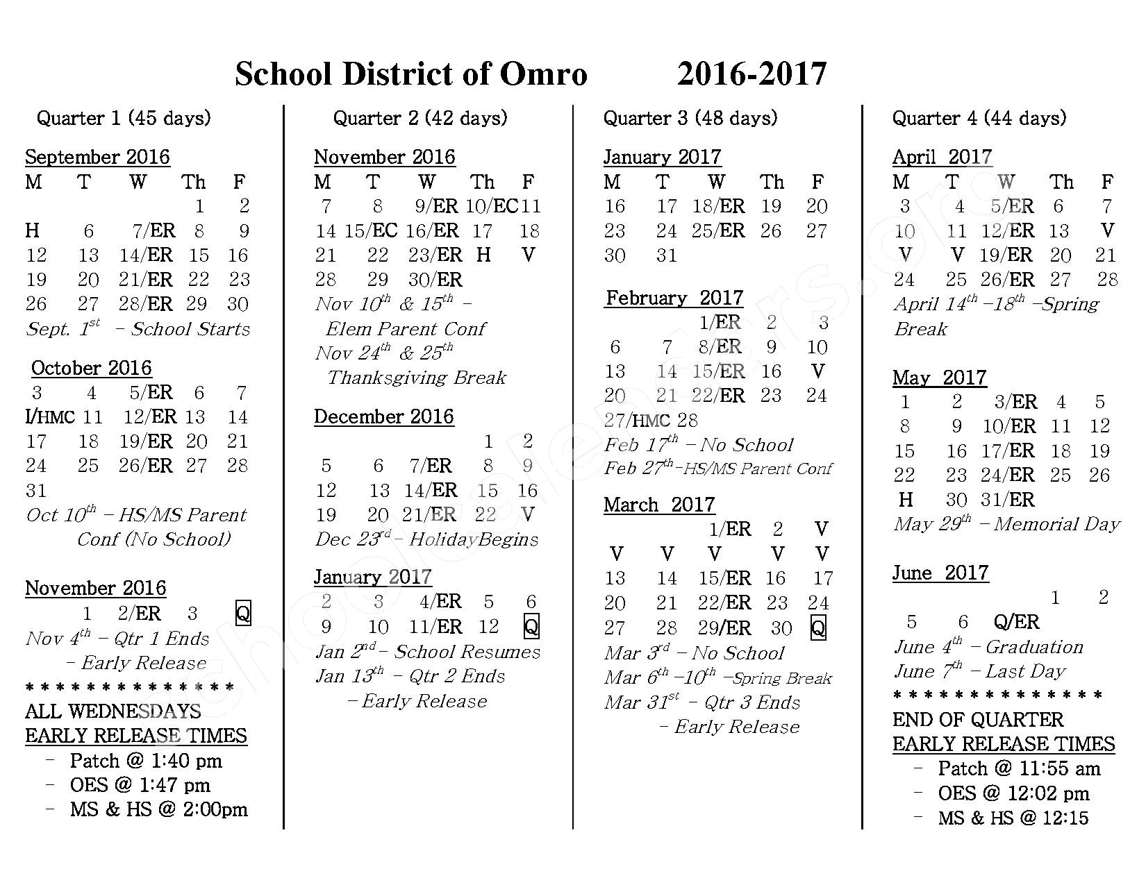 2016 - 2017 District Calendar – Omro School District – page 1