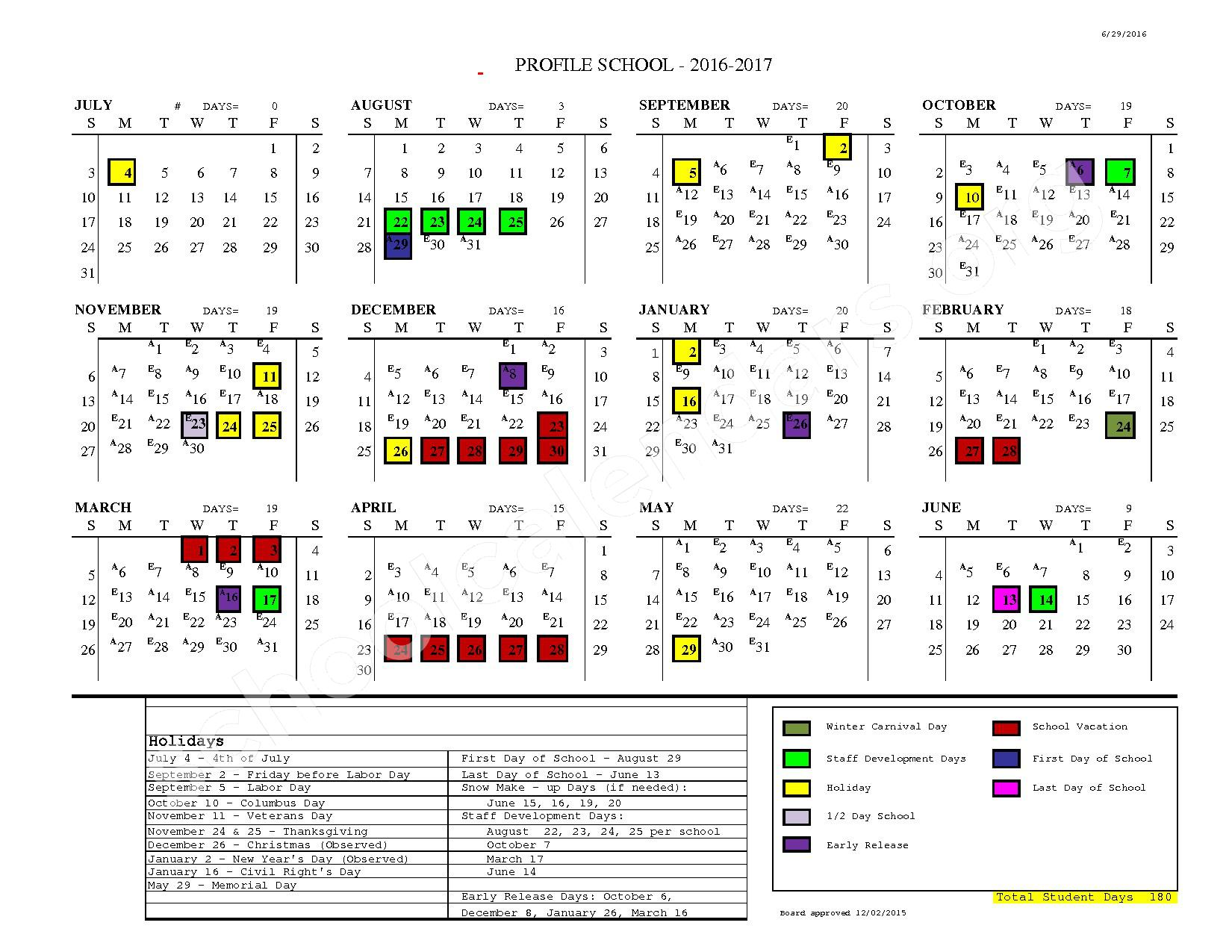 2016 - 2017 School Calendar – SAU 35 - White Mountain Regional School District – page 1