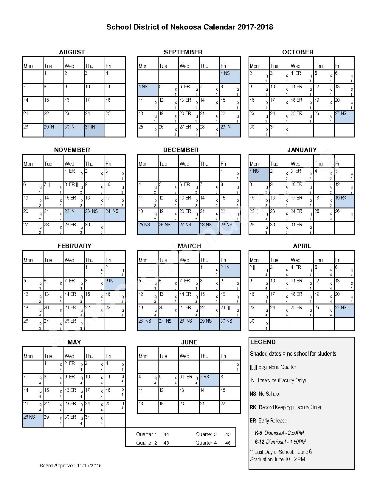 2017 - 2018  School Calendar – Nekoosa School District – page 1