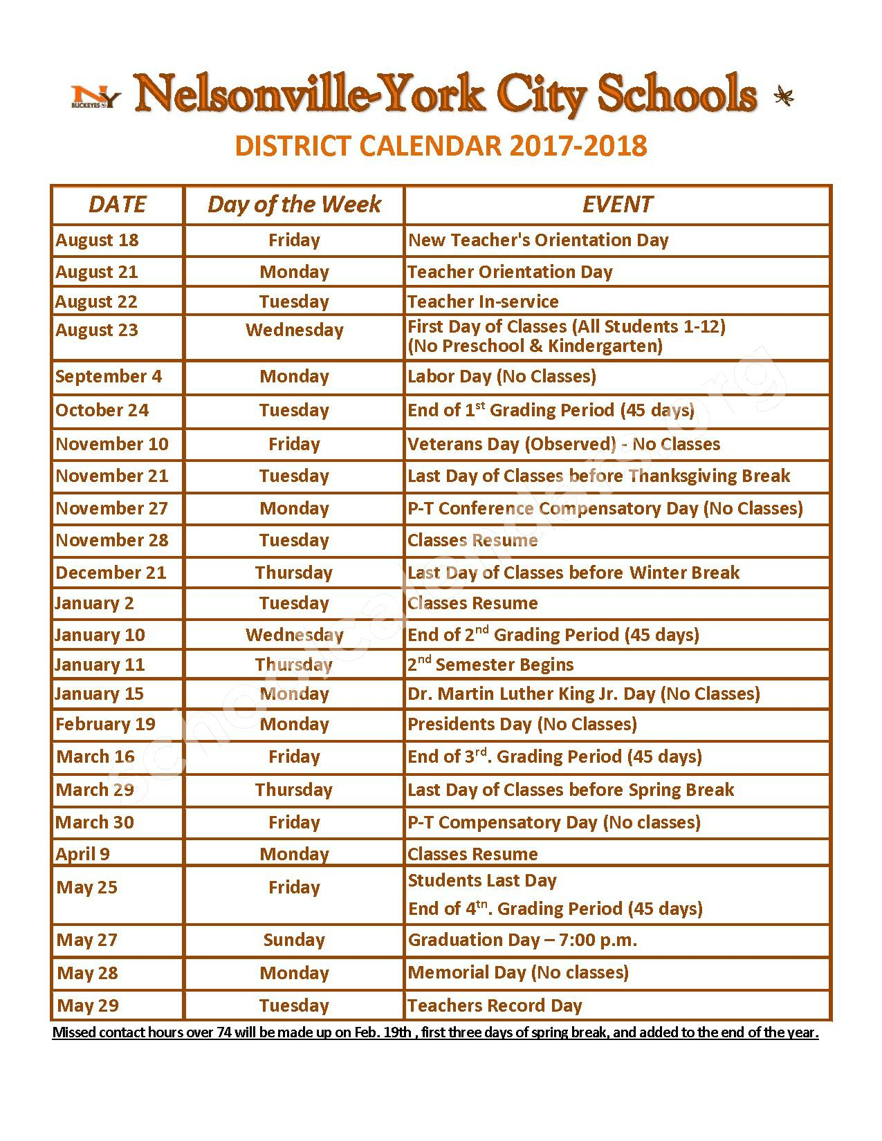 2017 - 2018 District Calendar – Nelsonville-York Junior High School – page 1