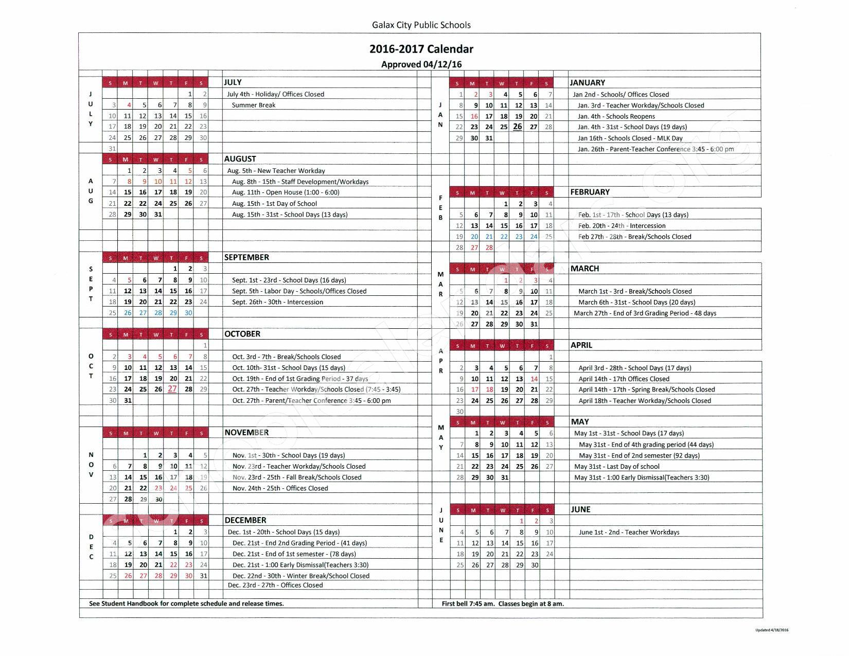 2016 - 2017 School Calendar – Galax Elementary School – page 1