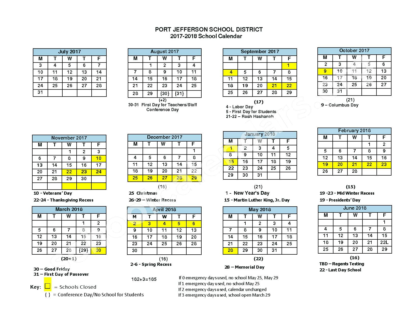 2017 - 2018 School Calendar – Port Jefferson Elementary School – page 1