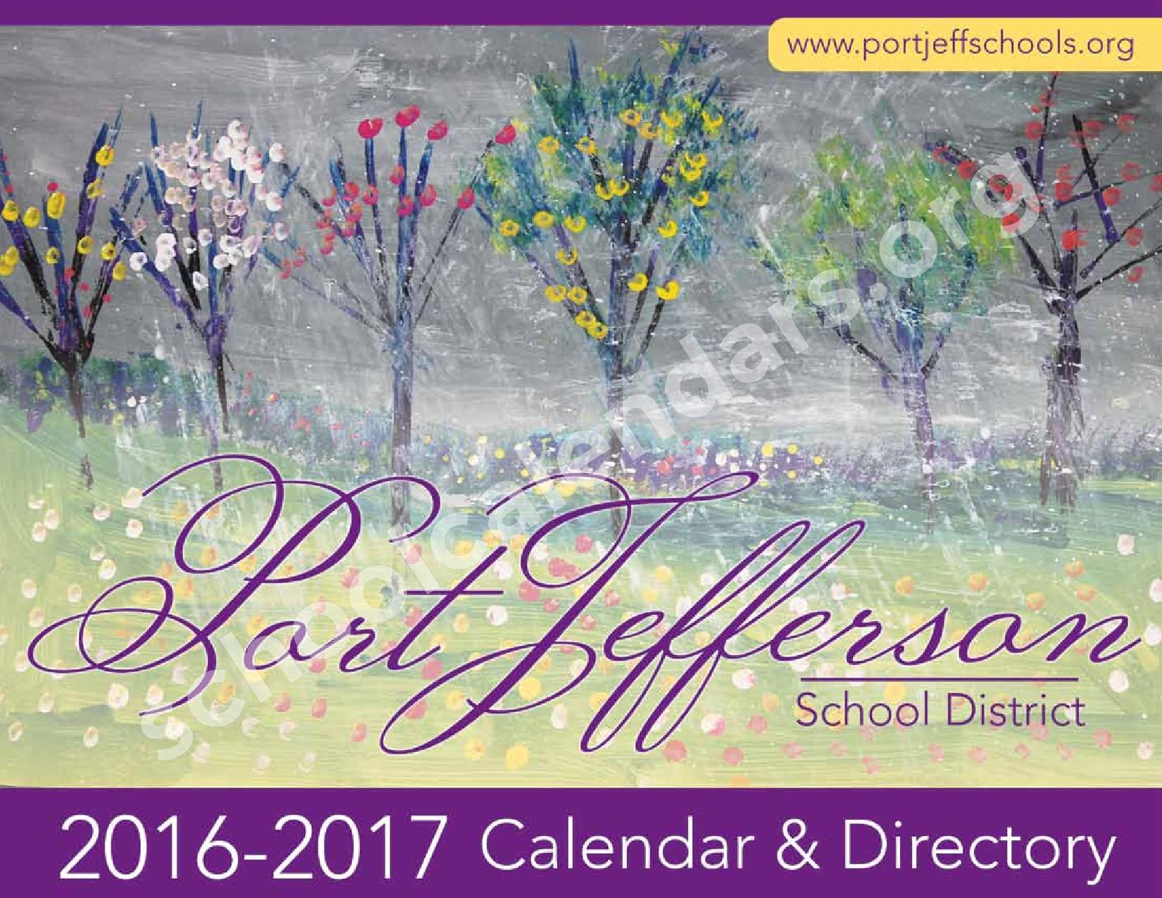 2016 - 2017 District Calendar – Port Jefferson Union Free School District – page 1