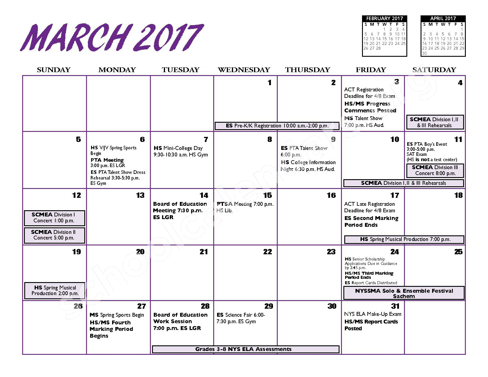 2016 - 2017 District Calendar – Port Jefferson Union Free School District – page 10