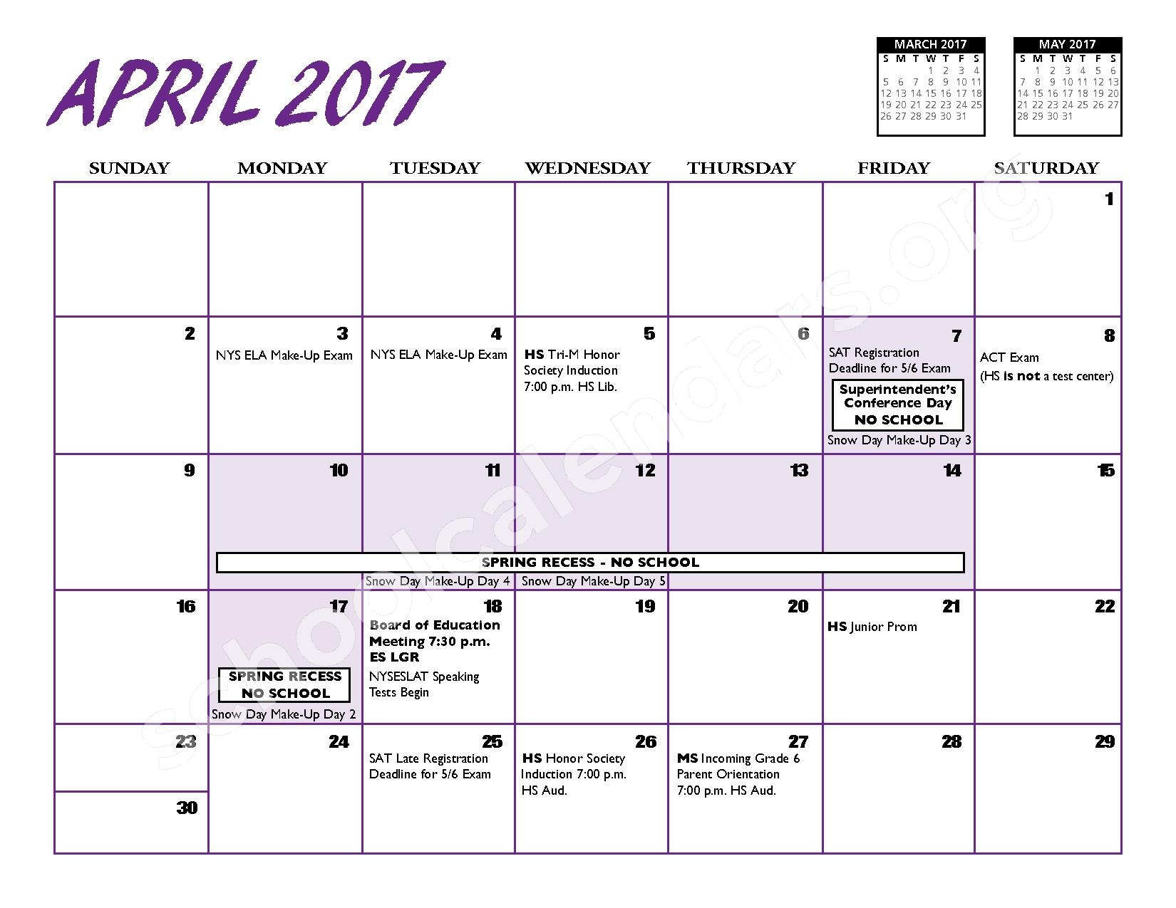 2016 - 2017 District Calendar – Port Jefferson Union Free School District – page 11