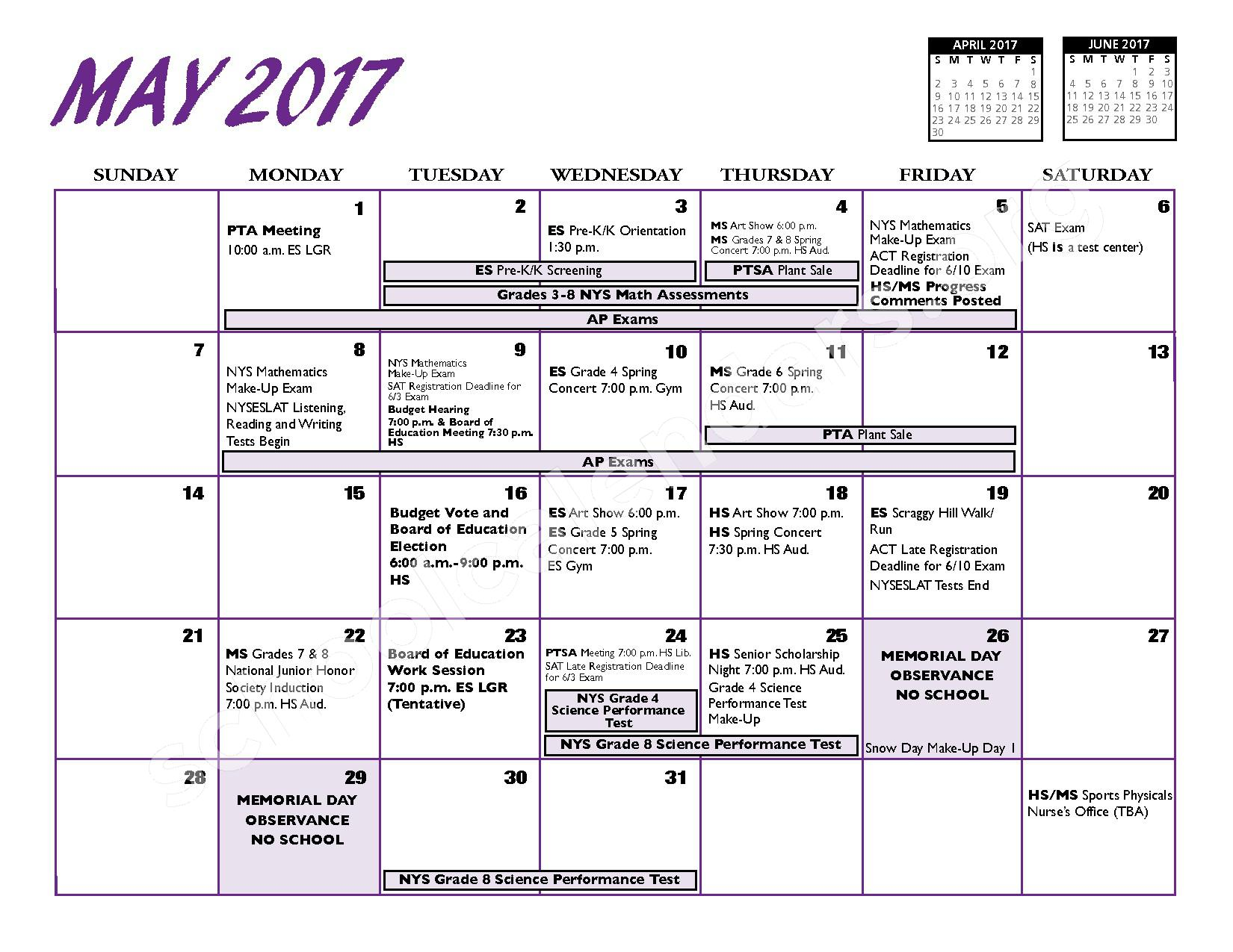 2016 - 2017 District Calendar – Port Jefferson Union Free School District – page 12